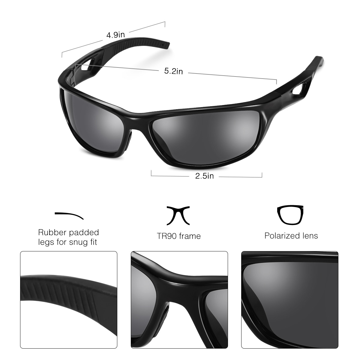 d6515a0617 Shop Coutlet Black Polarized Sports Sunglasses with TR90 Unbreakable Frame  for Skiing