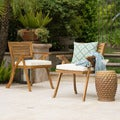 Hermosa Outdoor Acacia Arm Chair with Cushions (Set of 2) by Christopher Knight Home