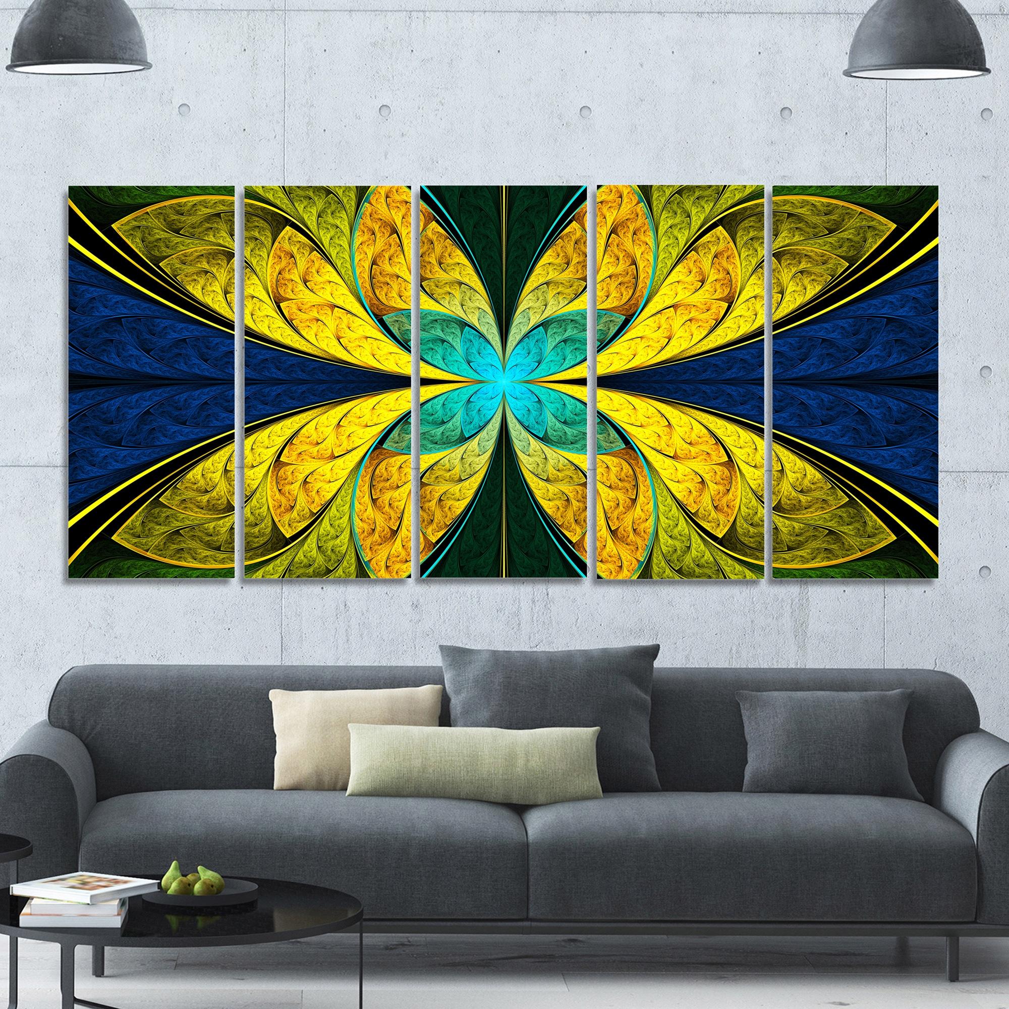 Shop Designart \'Bright Yellow Blue Fractal Flower\' Floral Wall Art ...