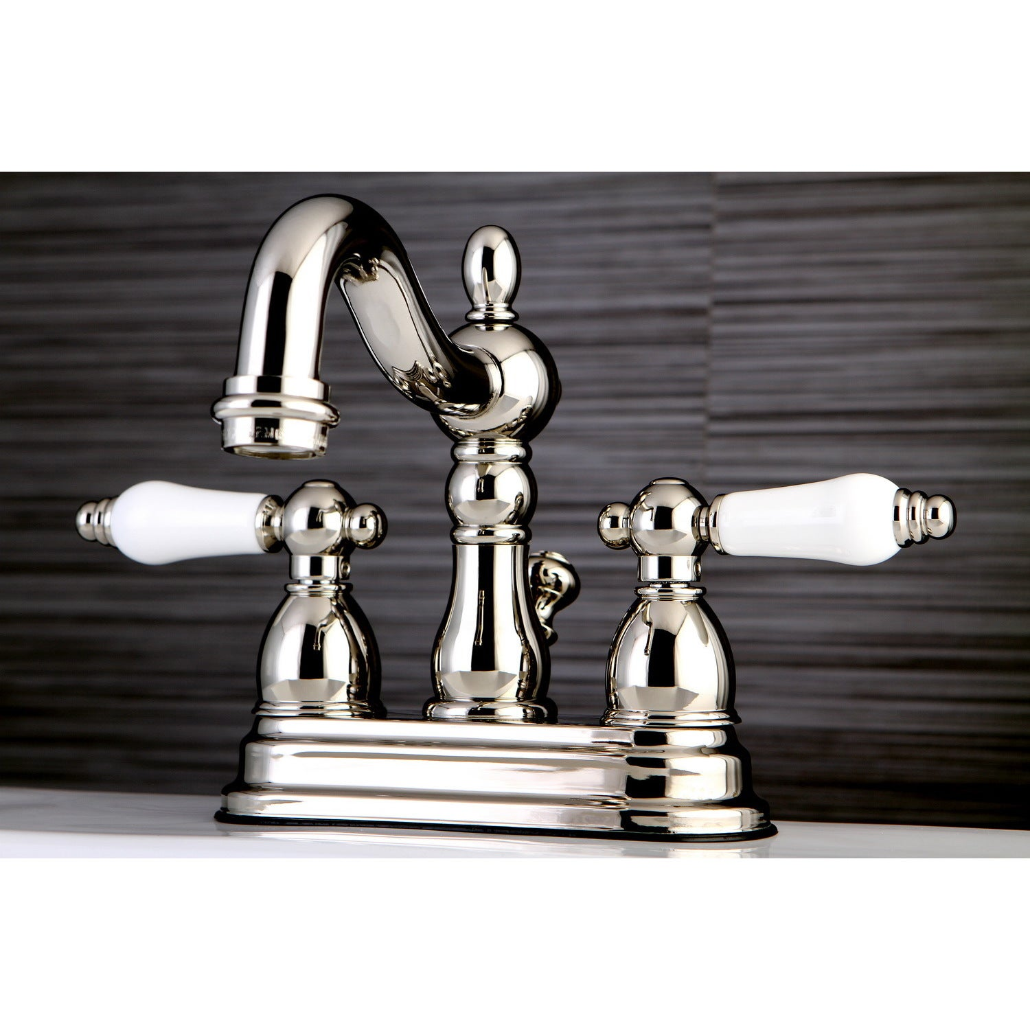 Shop Heritage Porcelain-Handles Polished Nickel Bathroom Faucet ...