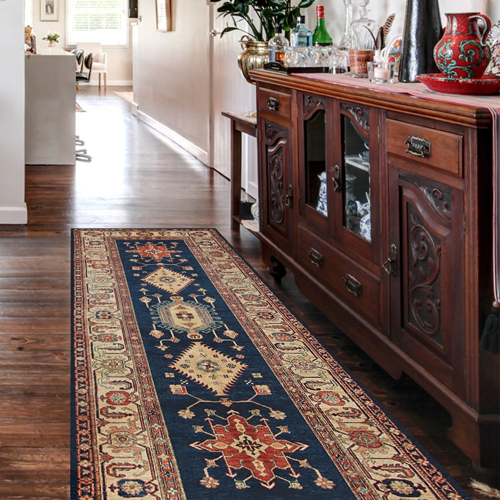 RUGGABLE Washable Indoor/ Outdoor Stain Resistant Runner Rug Noor Sapphire  (2.5' x 7') - 2'6