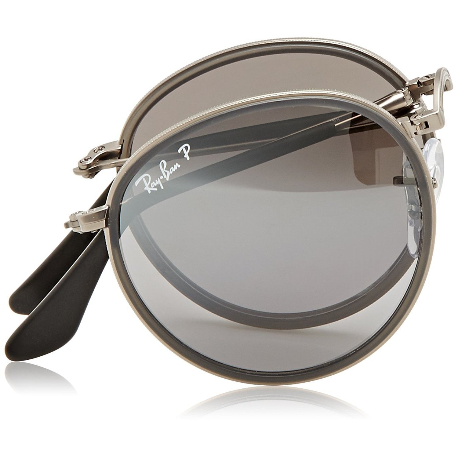 1d7e2ac520 Shop Ray-Ban Round Folding RB3517 Unisex Gunmetal Frame Polarized Silver  Gradient 48mm Lens Sunglasses - Free Shipping Today - Overstock - 15370759