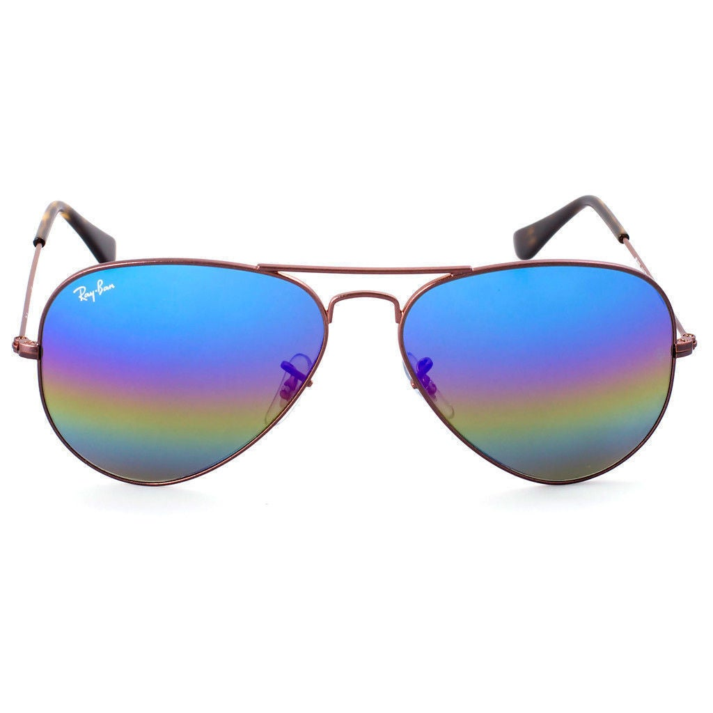 275e1a7445 Shop Ray-Ban Aviator Mineral Flash RB3025 Unisex Bronze-Copper Frame Blue  Rainbow Flash 58mm Lens Sunglasses - Free Shipping Today - Overstock -  15370831