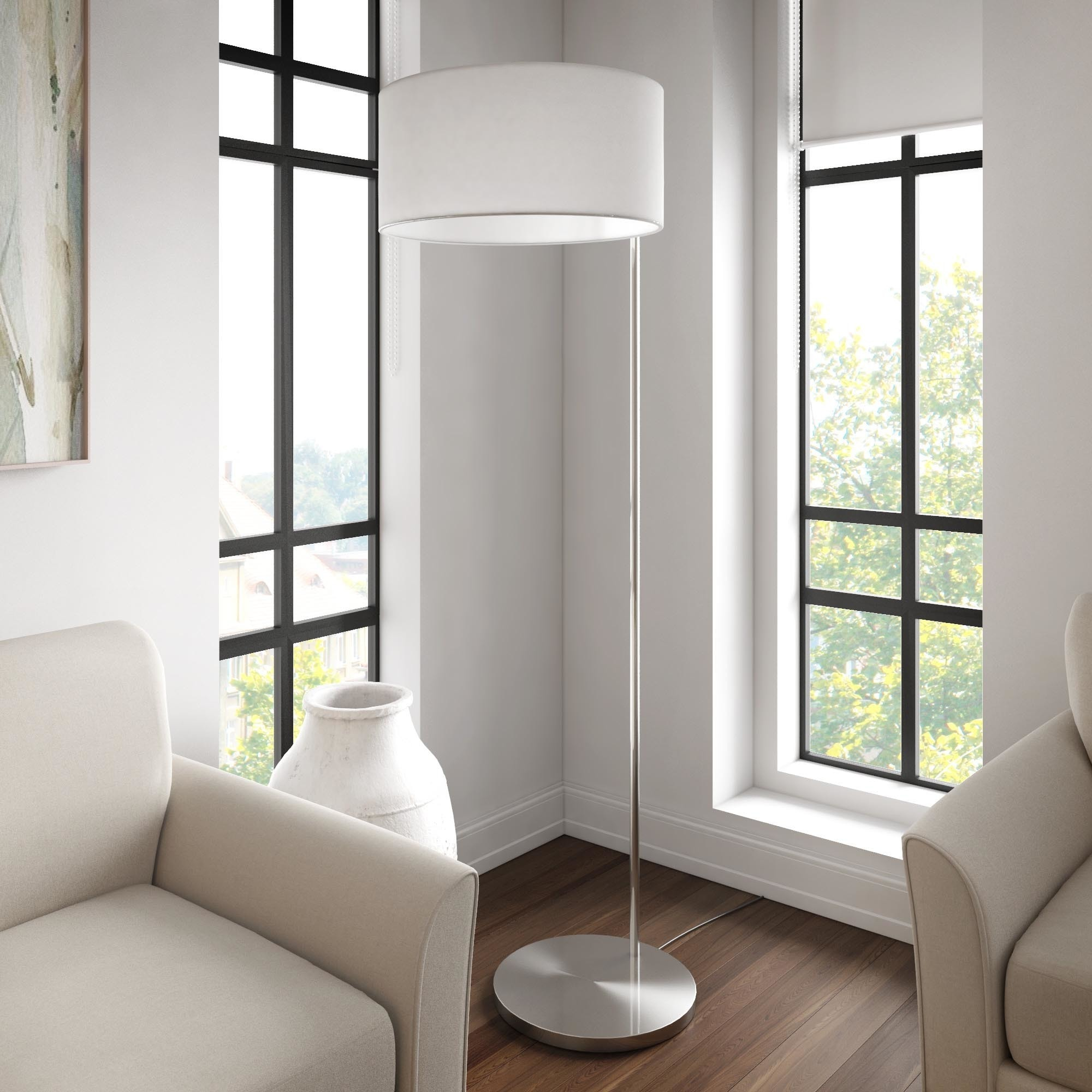 Hilda Contemporary Brushed Steel Floor Lamp iNSPIRE Q Modern - Free  Shipping Today - Overstock.com - 21831269