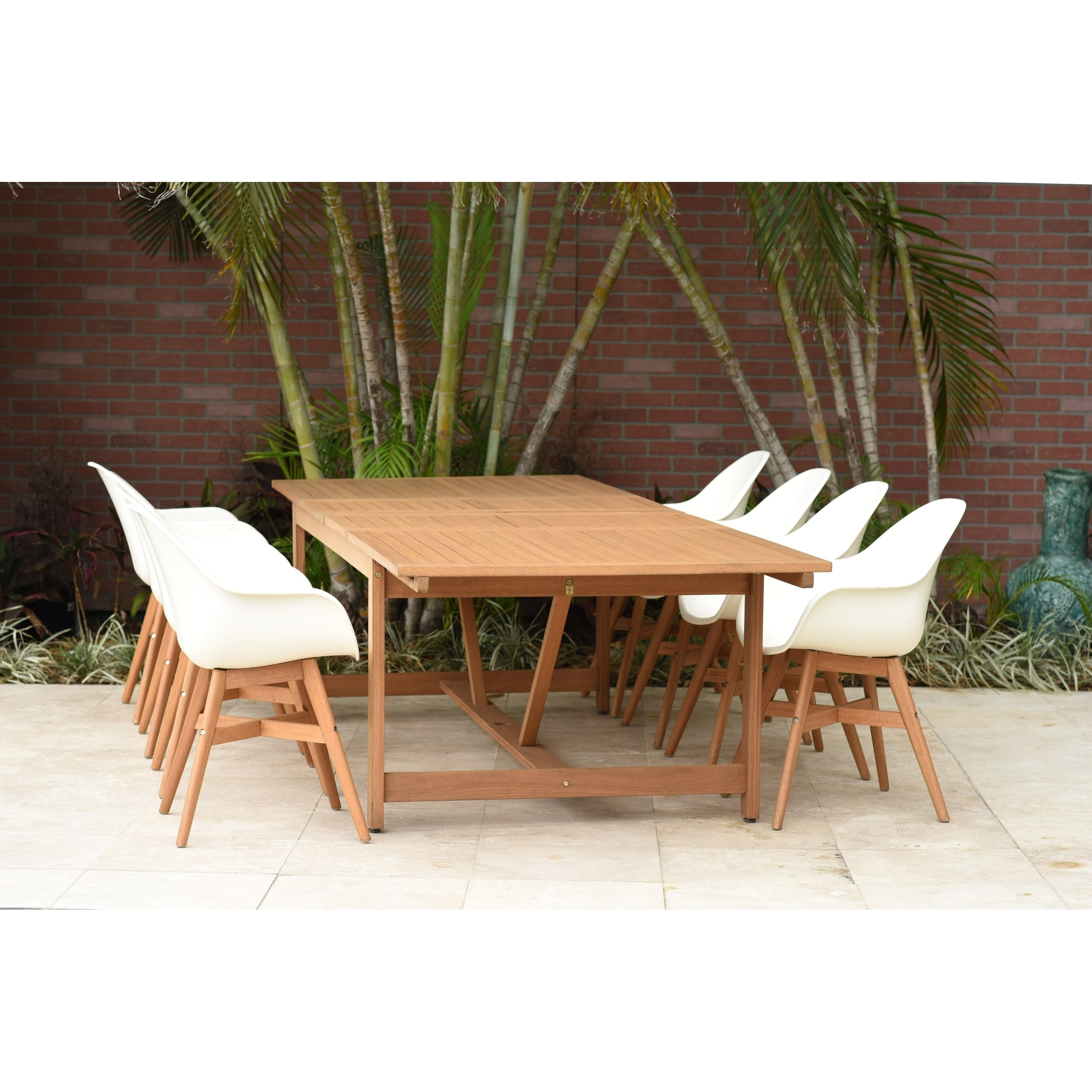 Amazonia deluxe hawaii white wood 9 piece rectangular patio dining set