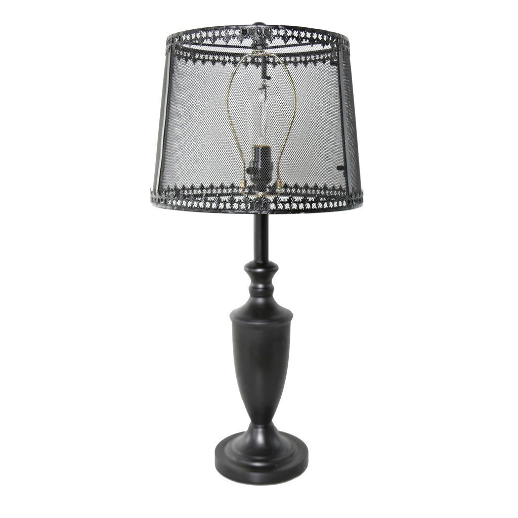 Shop River Of Goods Antique Black Metal 28 Inch High Urn Style Table Lamp  With Translucent Iron And Mesh Shade   On Sale   Free Shipping Today ...