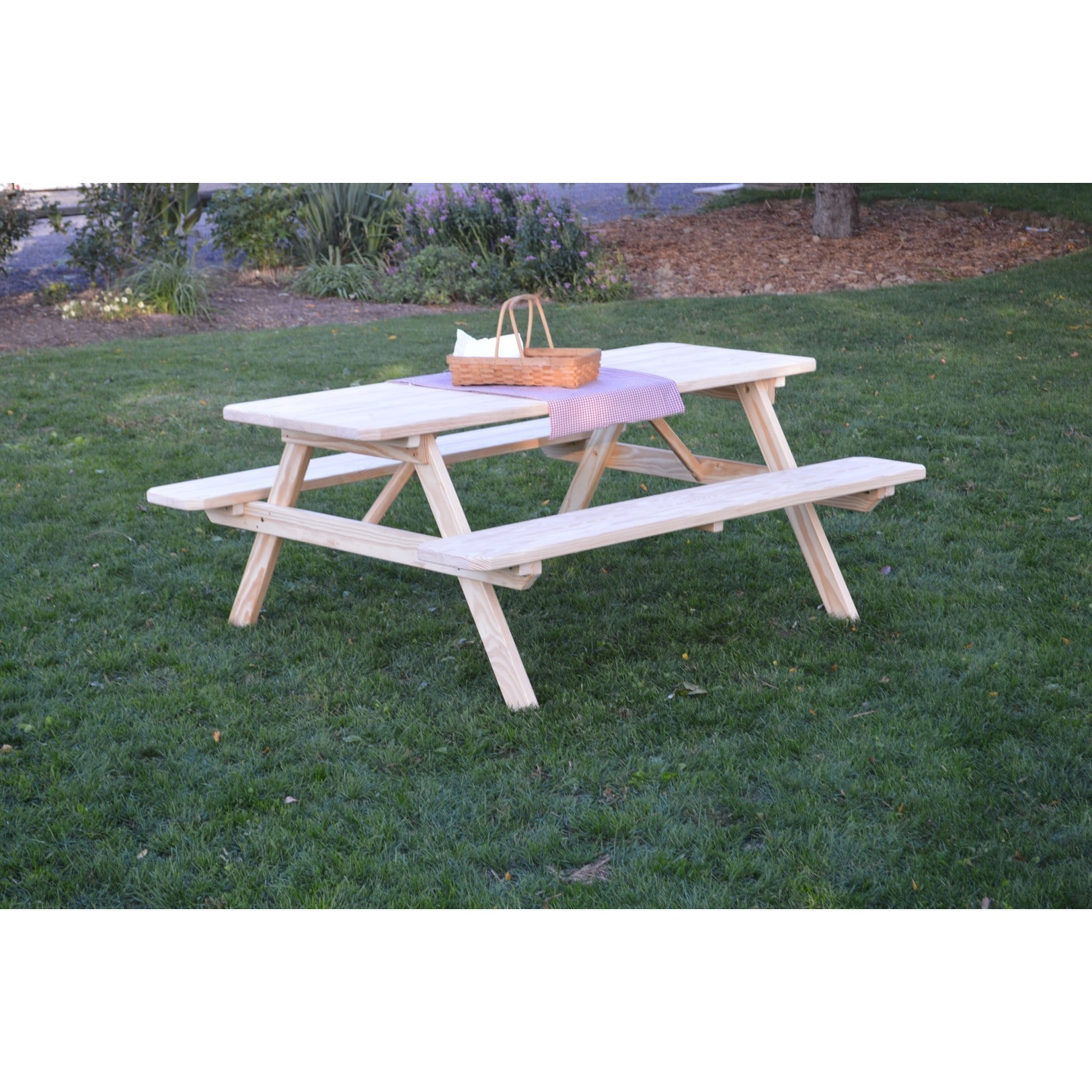 Unfinished Picnic Table With Attached Benches In Pressure Treated Pine