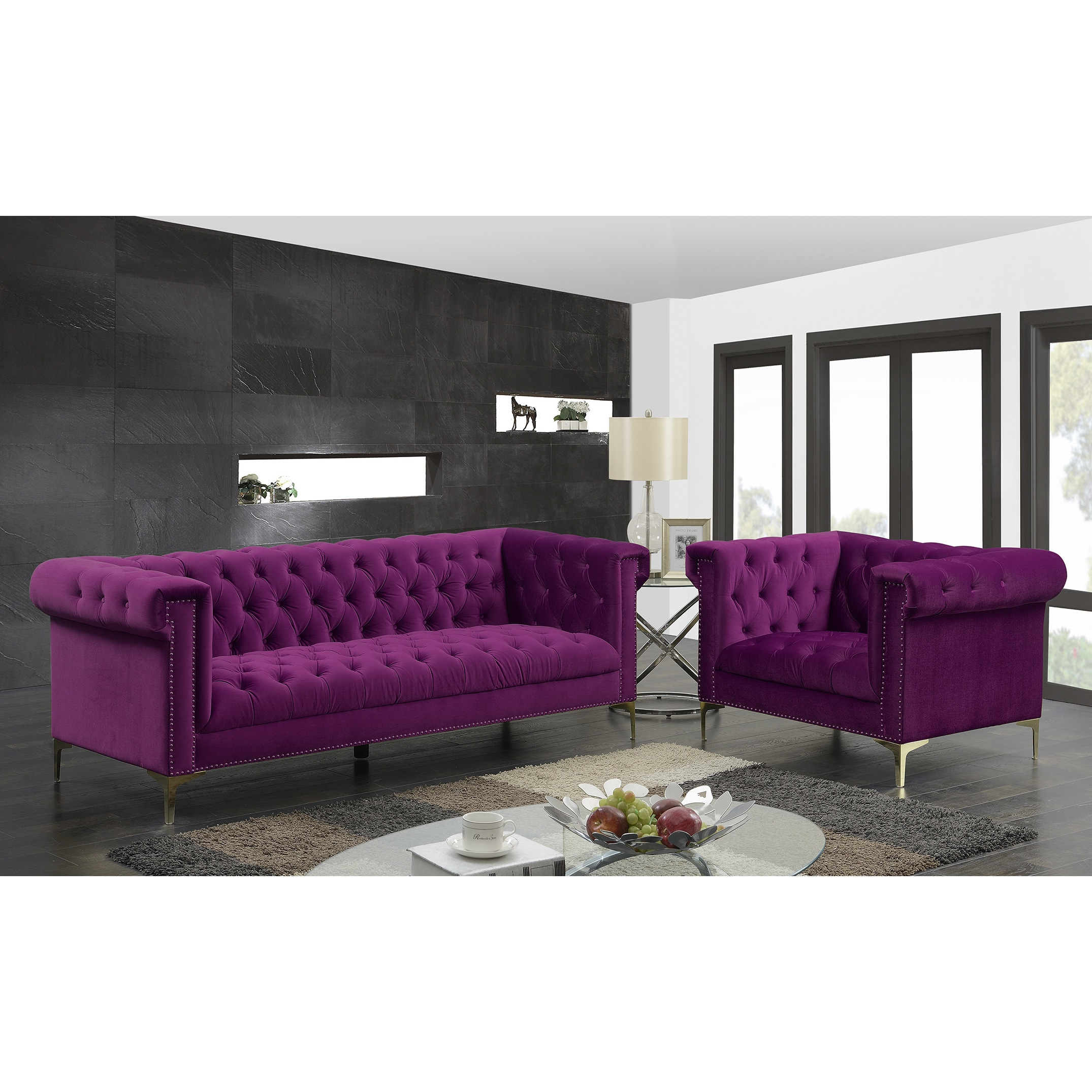Chic Home Vanessa Velvet Goldtone Metal Y Leg Sofa Plum On Free Shipping Today 15371540