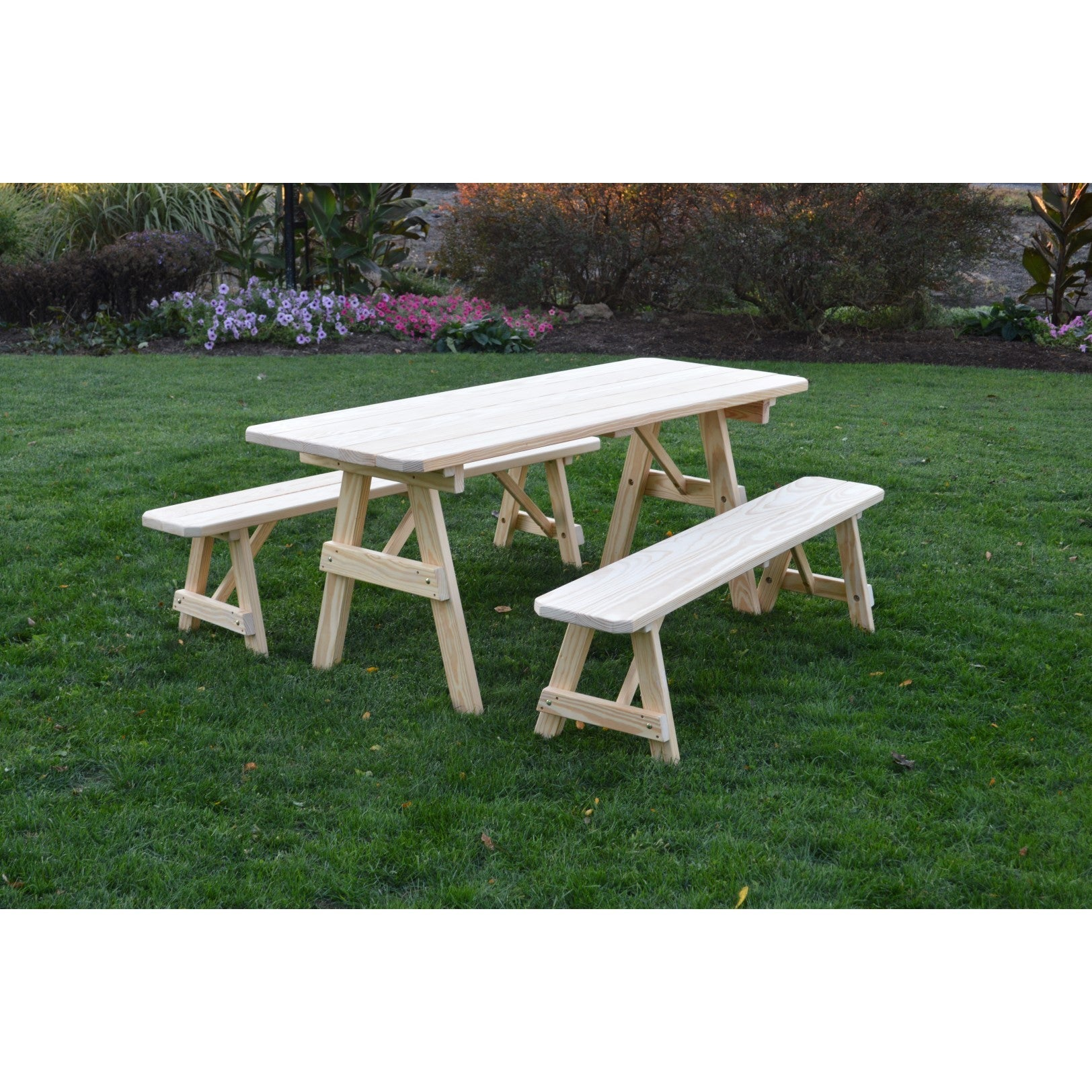 Unfinished Picnic Table With Detached Benches In Pressure Treated Pine
