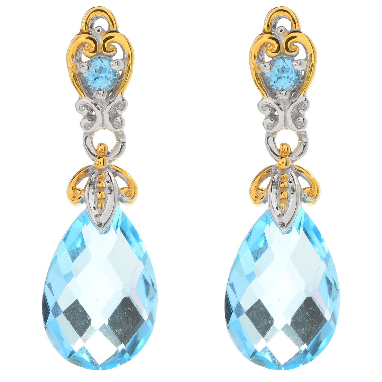 Michael Valitutti Palladium Silver Swiss Blue Topaz Briolette Drop Earrings Free Shipping Today 15371572