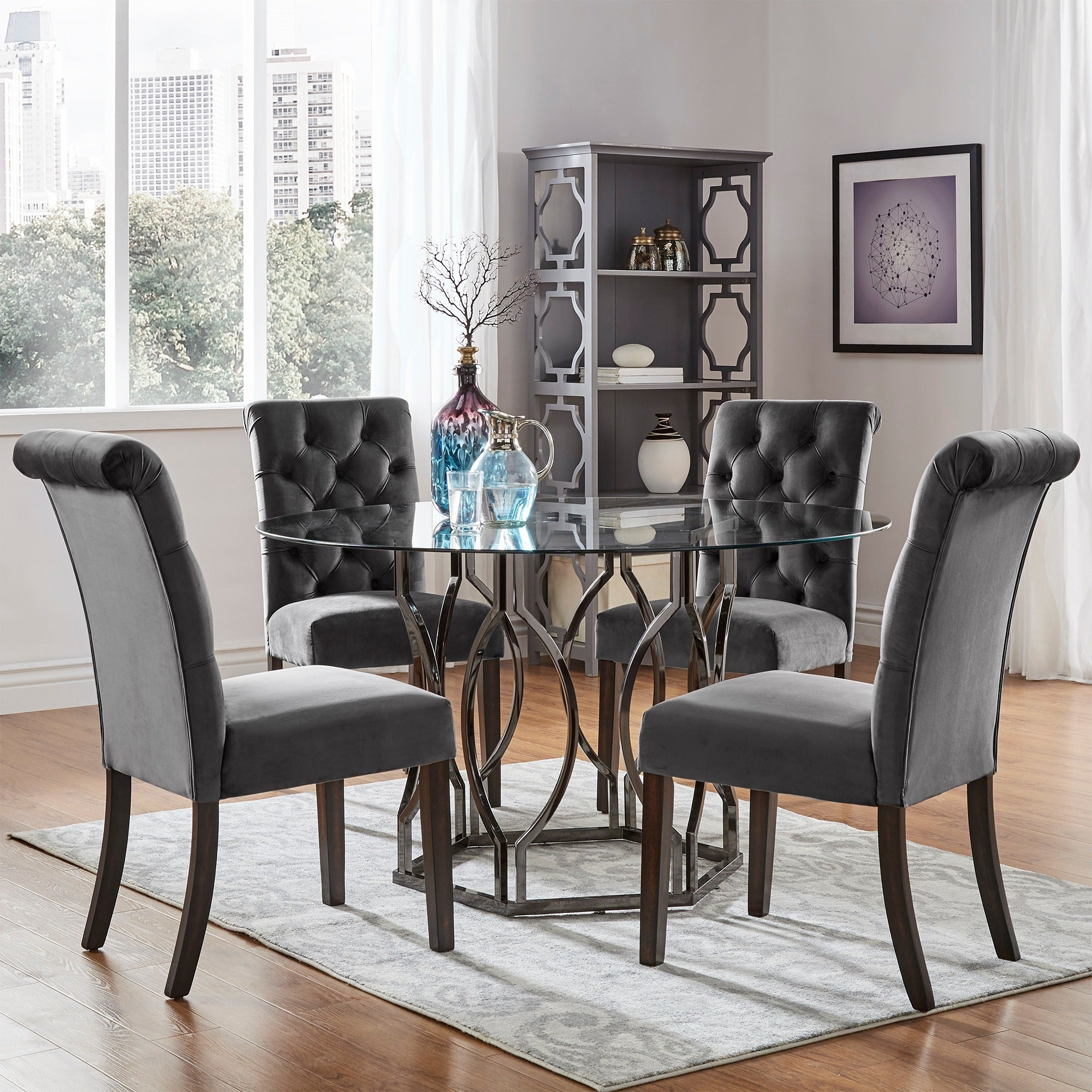 Benchwright Velvet Tufted Rolled Back Parsons Chairs (Set of 2) by iNSPIRE Q  Bold - Free Shipping Today - Overstock.com - 21832346