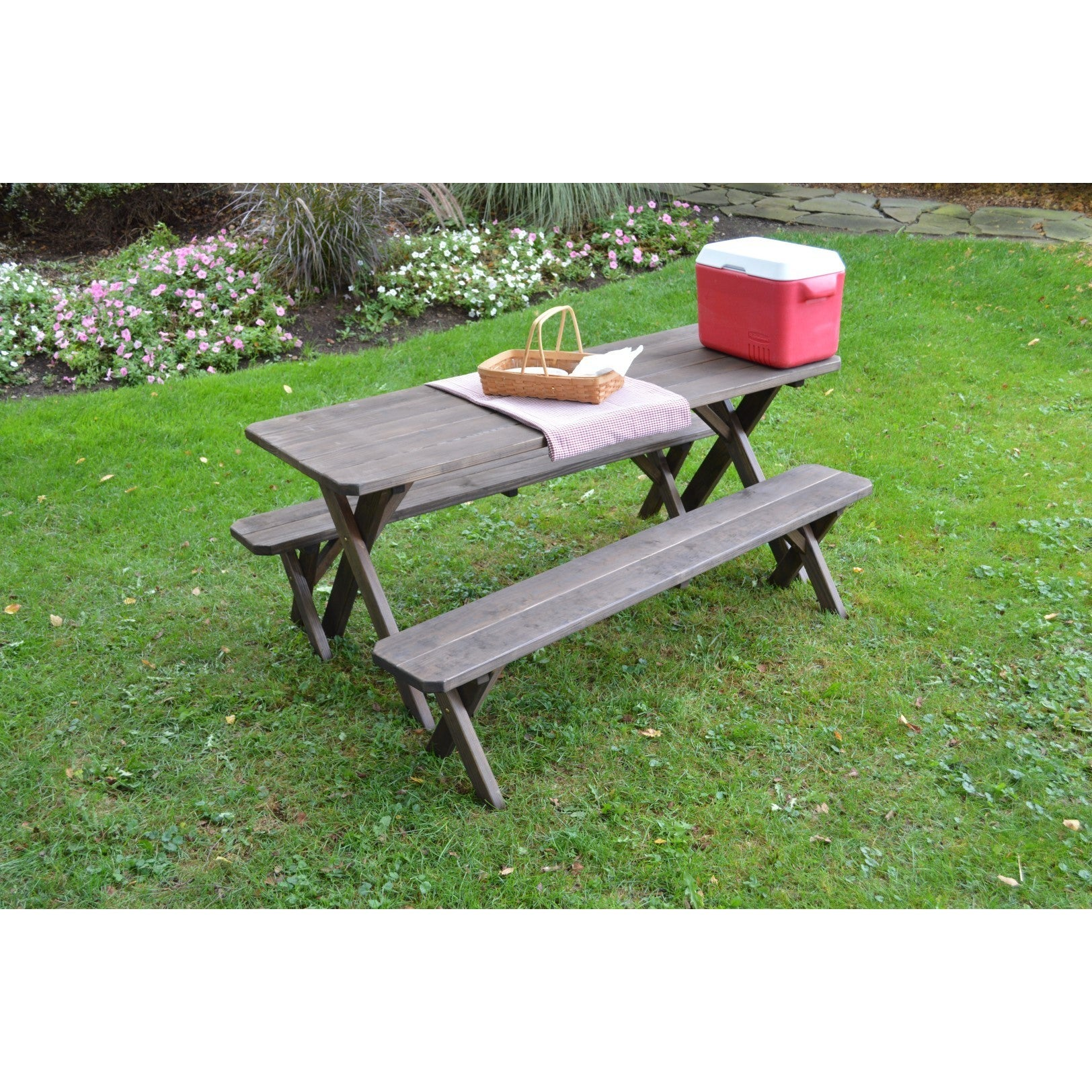Pressure Treated Pine Cross Leg Picnic Table W Detached Benches Walnut Stain 4 5 6 Or 8ft Free Shipping Today 15372160