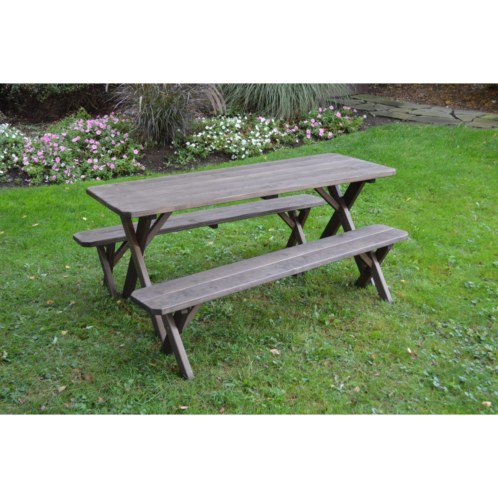 Pressure Treated Pine Cross Leg Picnic Table W Detached Benches Walnut Stain 4 5 6 Or 8ft