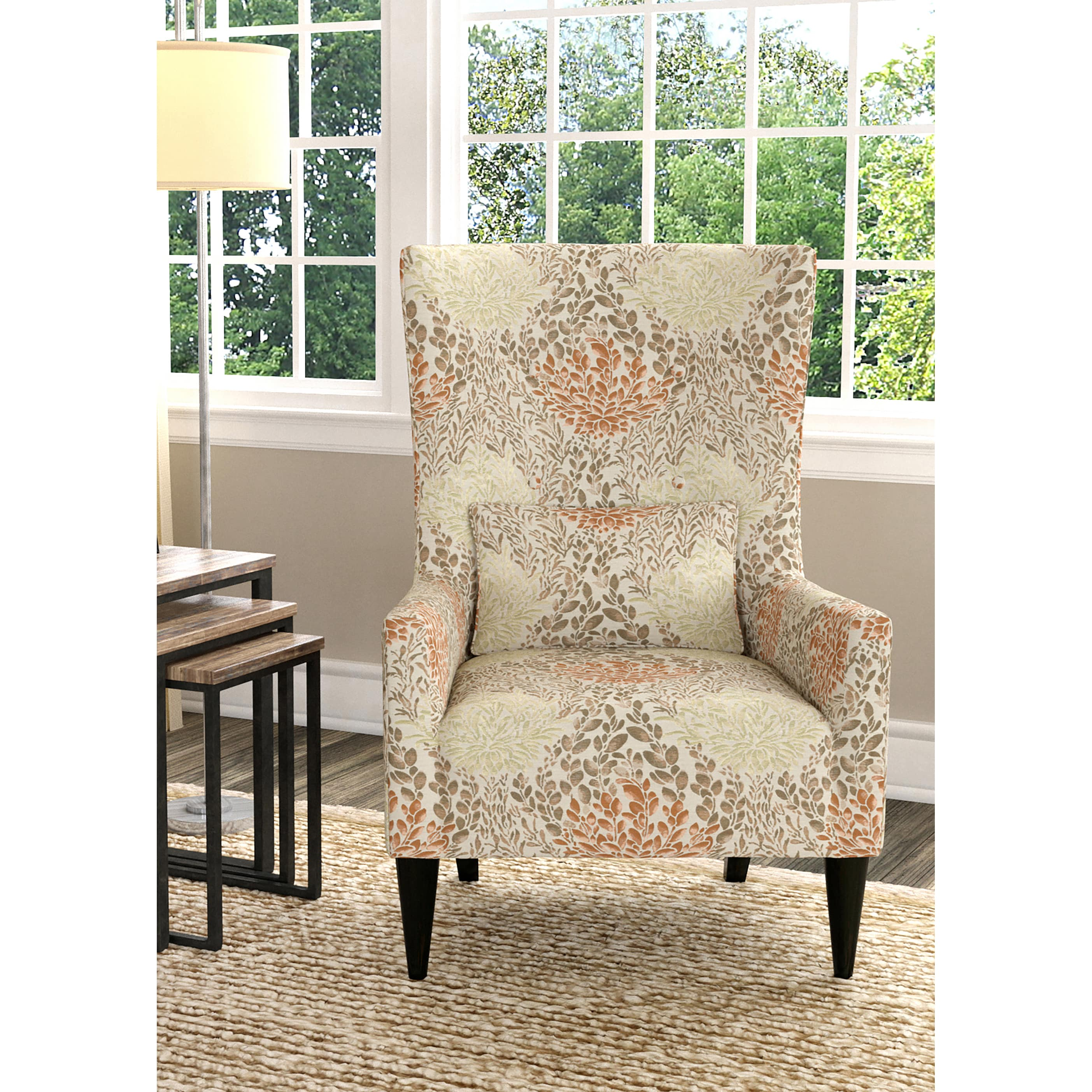 Good Handy Living Venecia Orange Floral High Back Wing Chair   Free Shipping  Today   Overstock   21836905
