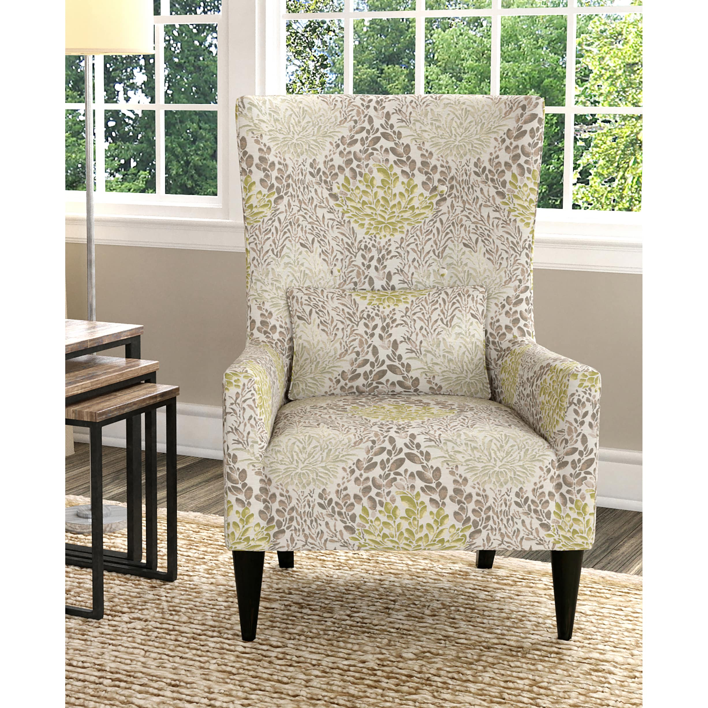 Shop Handy Living Venecia Yellow Floral High Back Wing Chair - Free ...