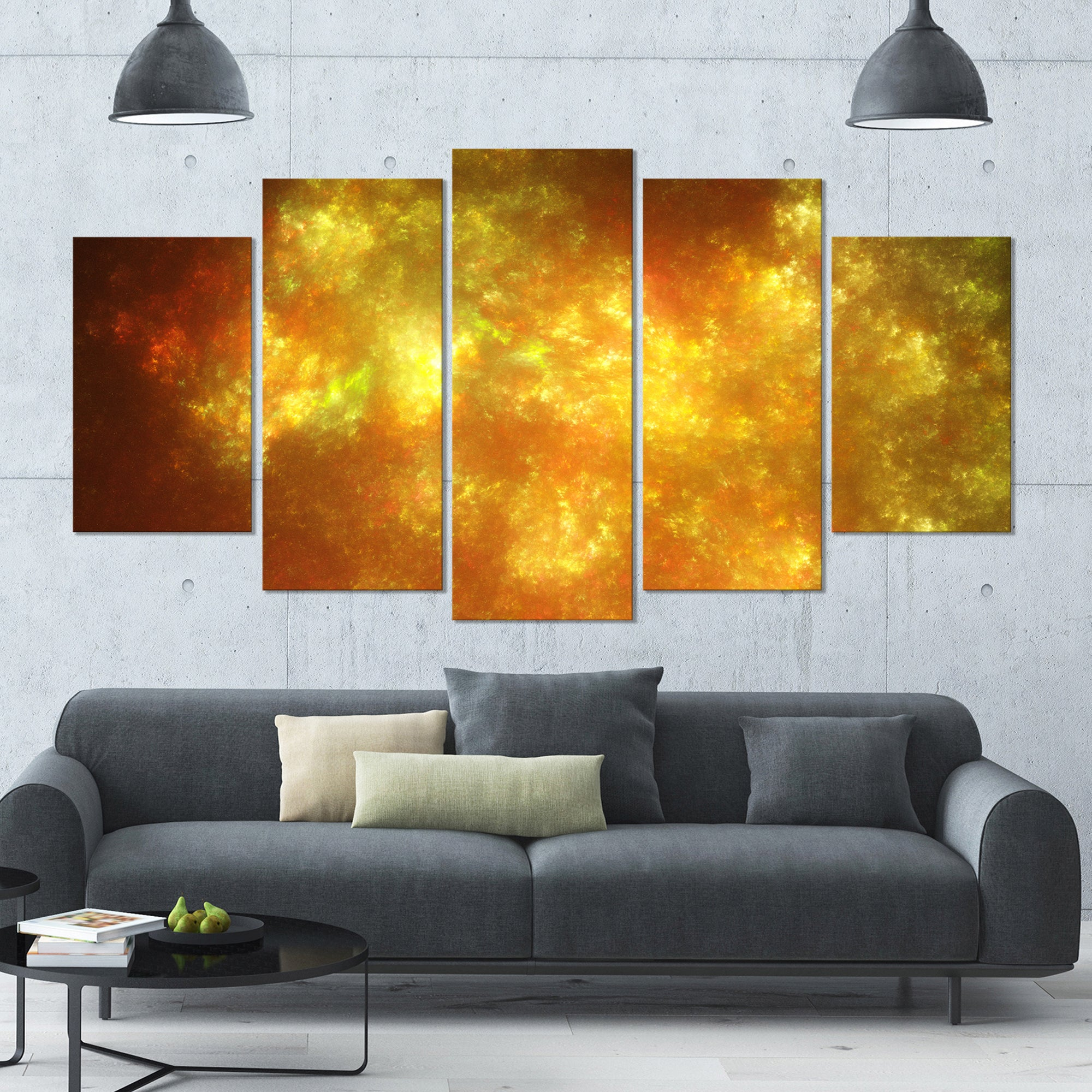 Designart \'Blur Golden Sky with Stars\' Abstract Artwork on Canvas ...