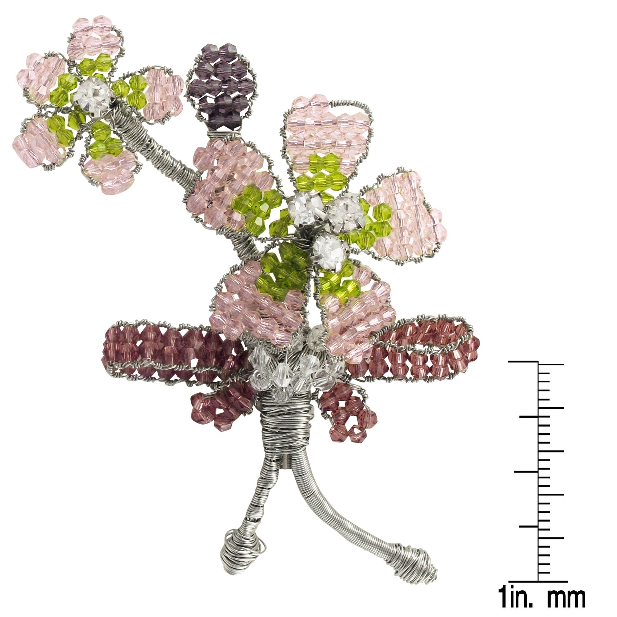 Shop Luxiro Silver Tone Multi Color Beads Flower Bouquet Brooch On