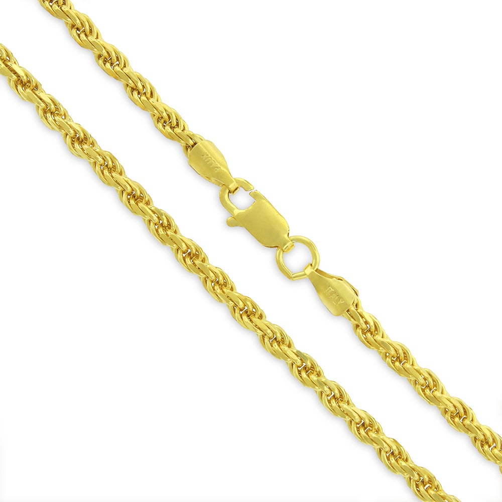 Authentic Solid Sterling Silver 3mm Rope Diamond-Cut Braided Twist  925  Yellow Gold Necklace Chain 20