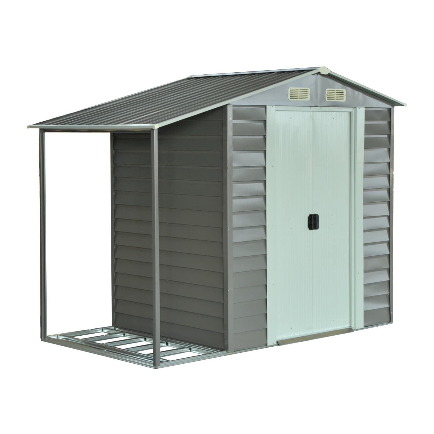 Outsunny Metal 8.5 \'x 5\' Outdoor Garden Storage Shed with Firewood ...