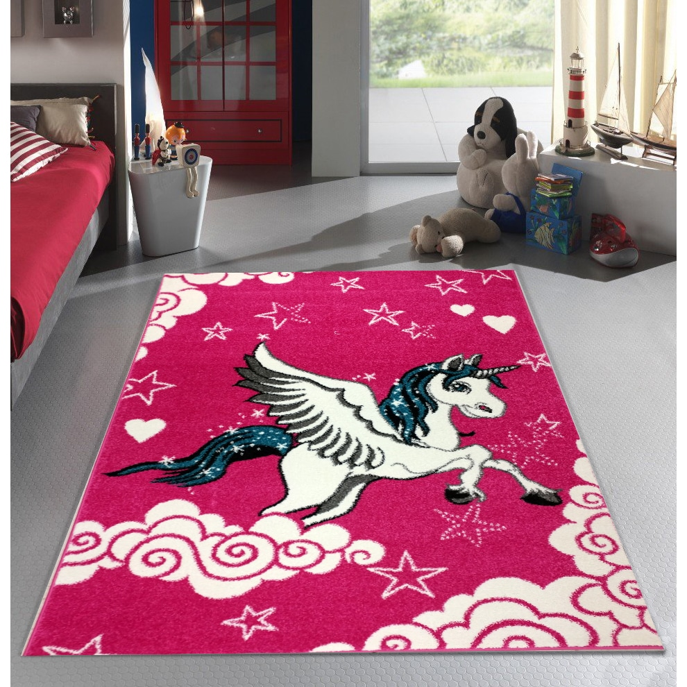 Shop Kc Cubs Pink Unicorn Boy And Girl Bedroom Modern Decor Area Rug