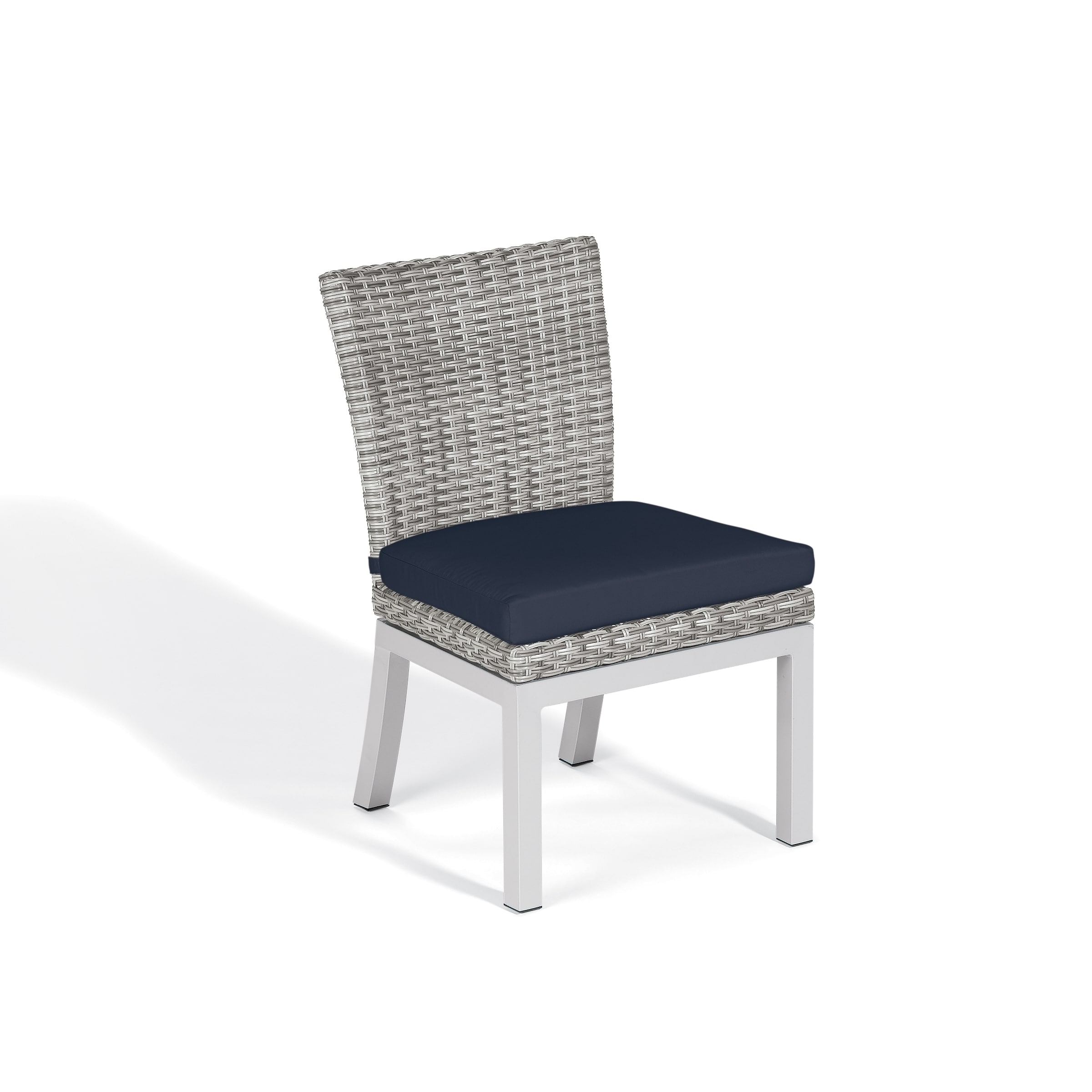 Shop oxford garden travira woven side chair with powder coated aluminum legs midnight blue polyester cushion set of 2 free shipping today