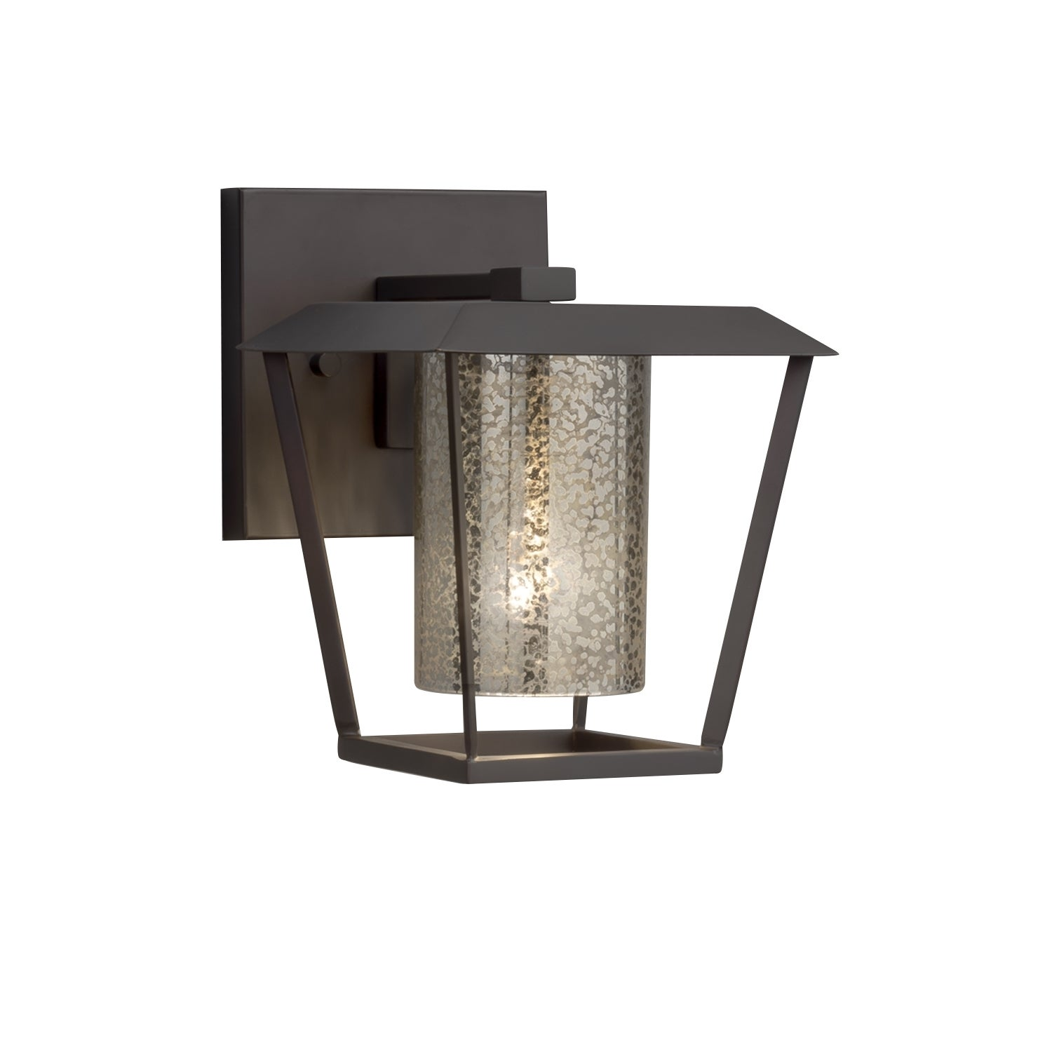 Patina Small 1-Light Outdoor Wall Sconce Brushed Nickel Finish Fusion Cylinder with Flat Rim Artisan Glass Shade in Mercury
