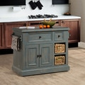 Hillsdale Furniture Nordic Blue Finish Tuscan Retreat Medium Kitchen Island with 2 Baskets
