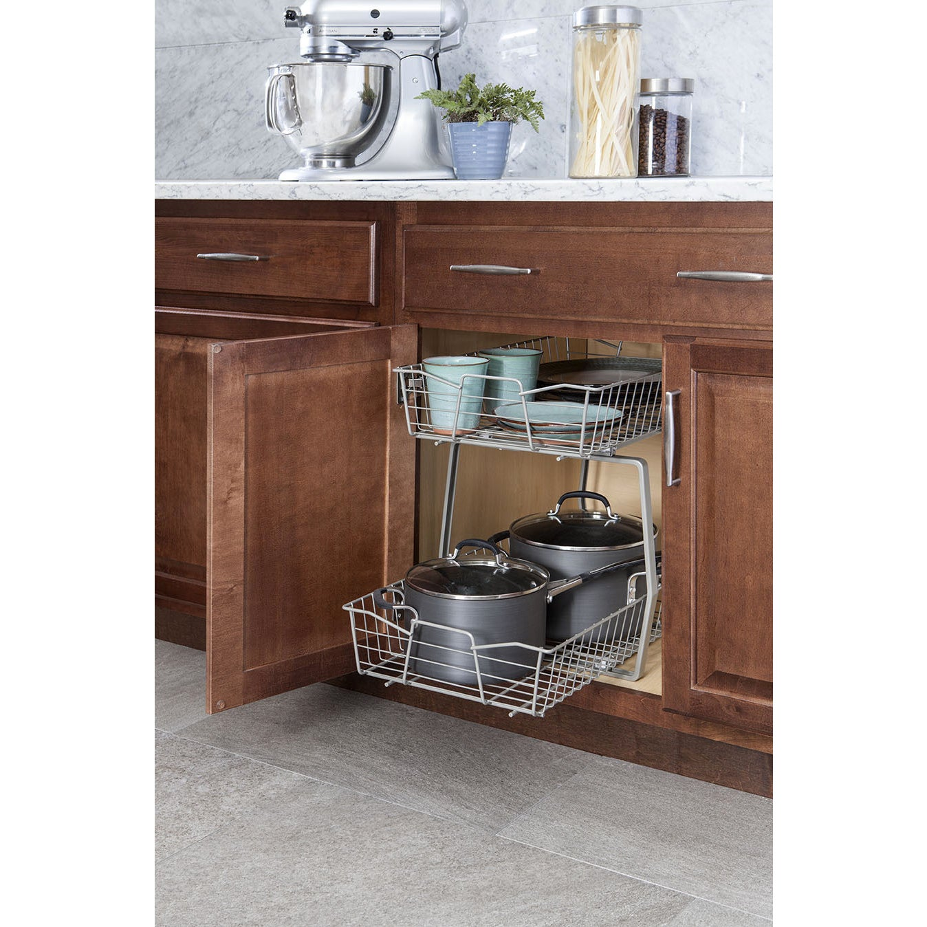 tier base gray utensil two soft pullout shelf cabinet with a steel close rev cookware organizer chrome site
