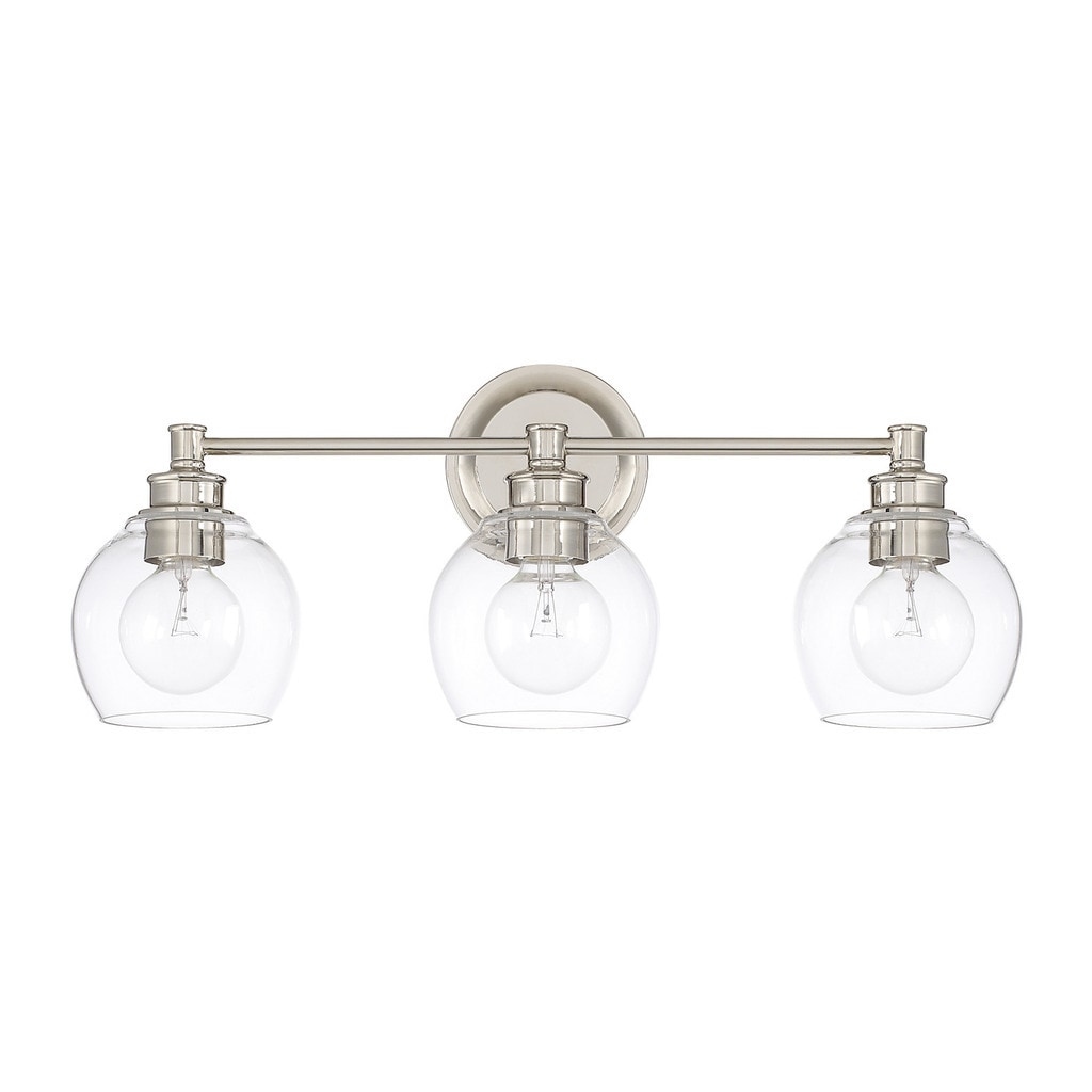 Shop capital lighting mid century collection polished nickel glass steel 3 light bath vanity light free shipping today overstock com 15420007