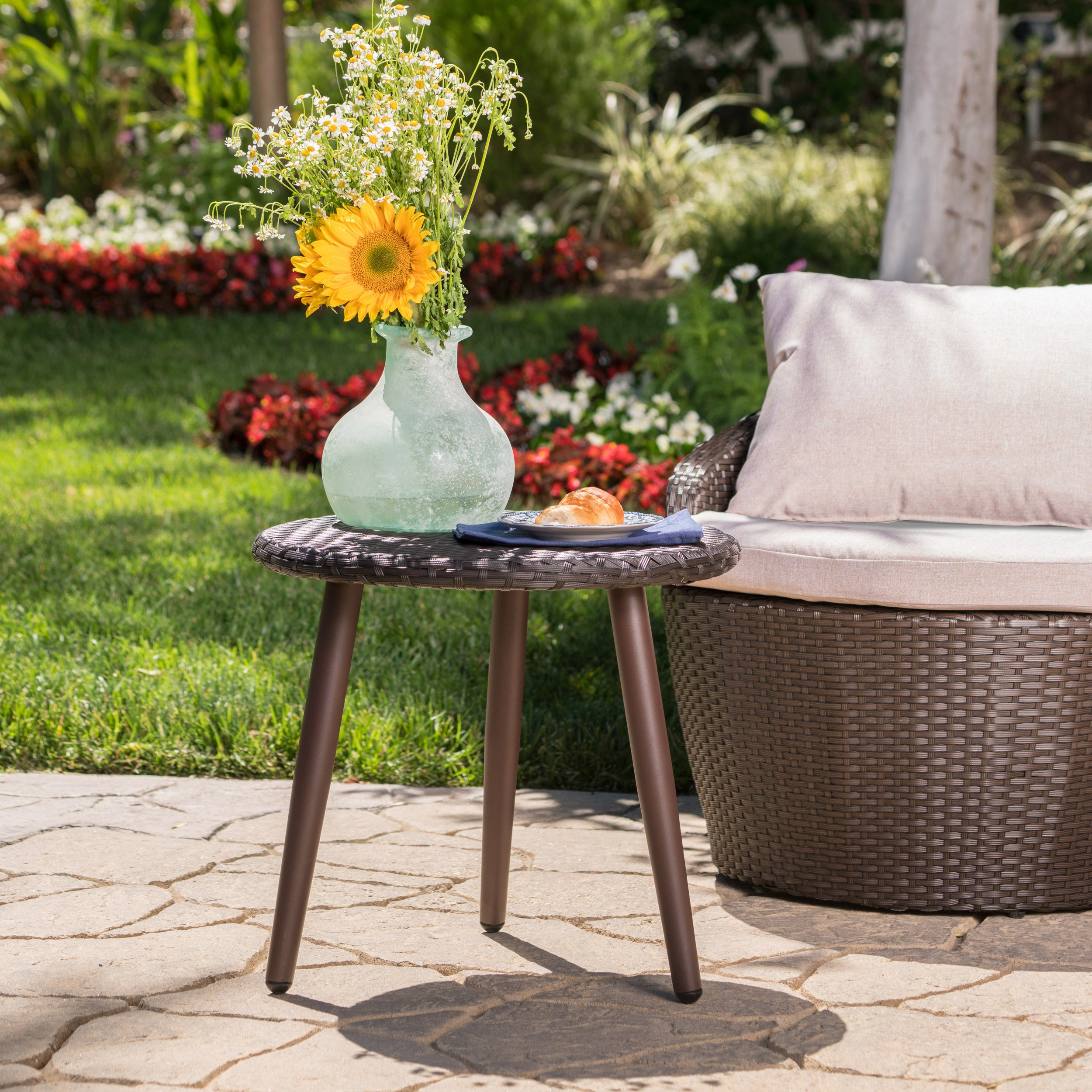 Easter Island Outdoor Round Wicker Accent Table By Christopher Knight Home On Free Shipping Today 15424737