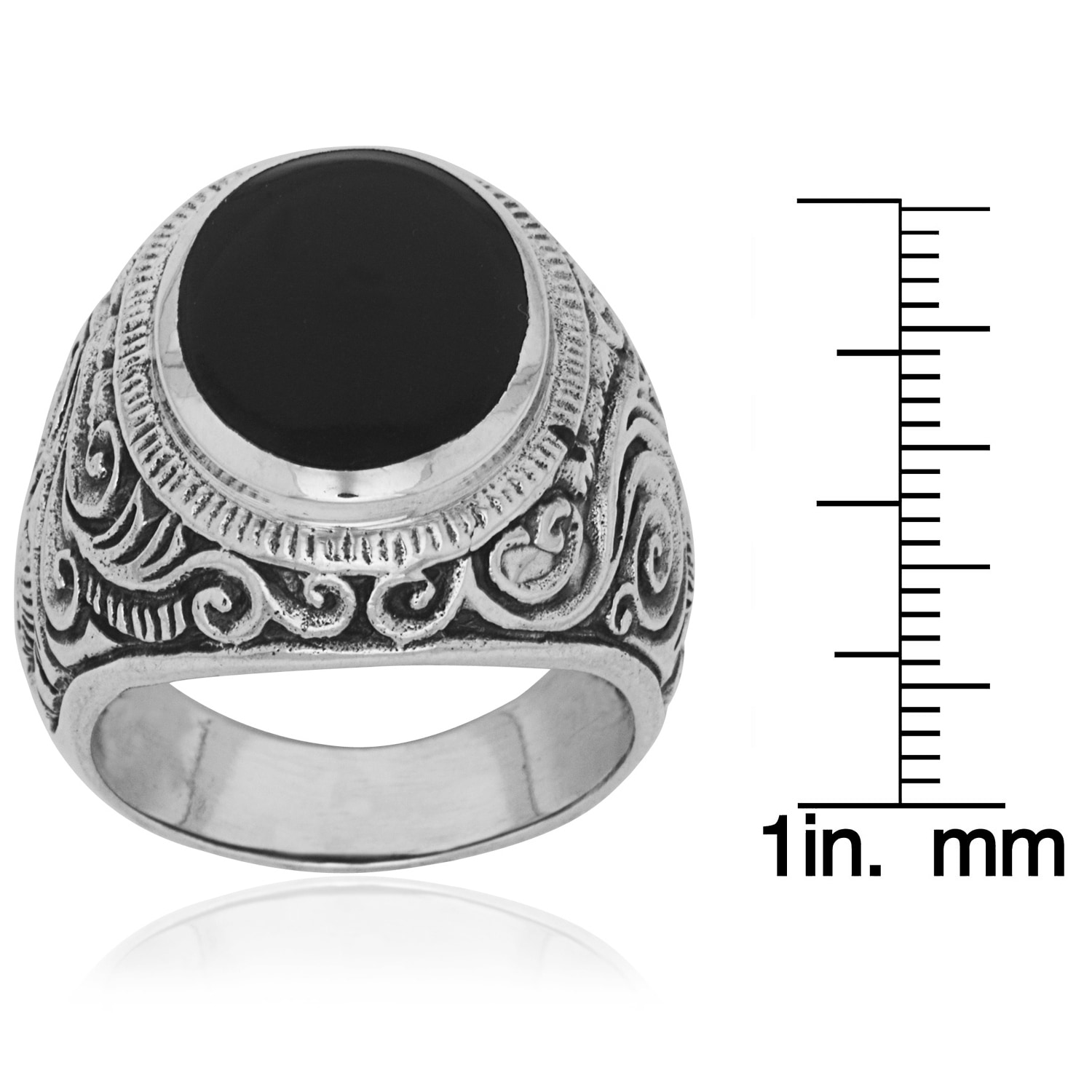 9ef913cd0 Shop Men's Sterling Silver and Black Onyx Scroll Ring - Free ...