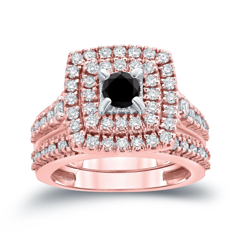 Auriya 14k 1 3/5ct TDW Round Black Diamond Halo Engagement Ring Set ...
