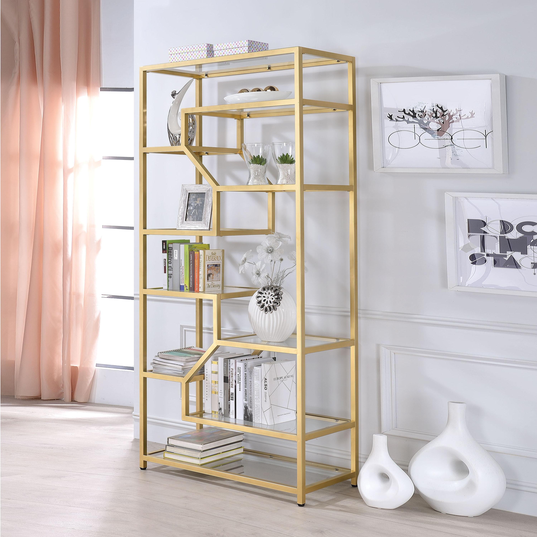 Shop Acme Furniture Lecanga Clear Glass And Goldtone Metal Bookshelf