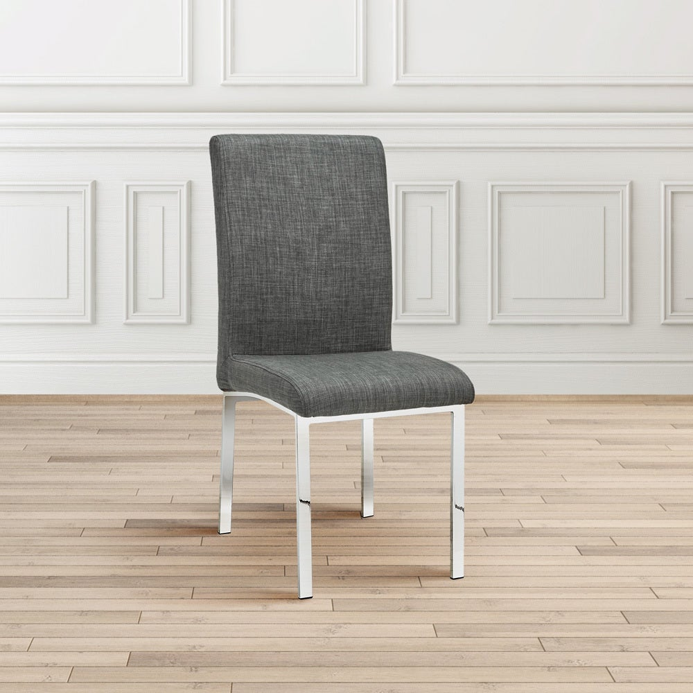 Contemporary Grey Upholstered Metal Dining Room Chair Set 4