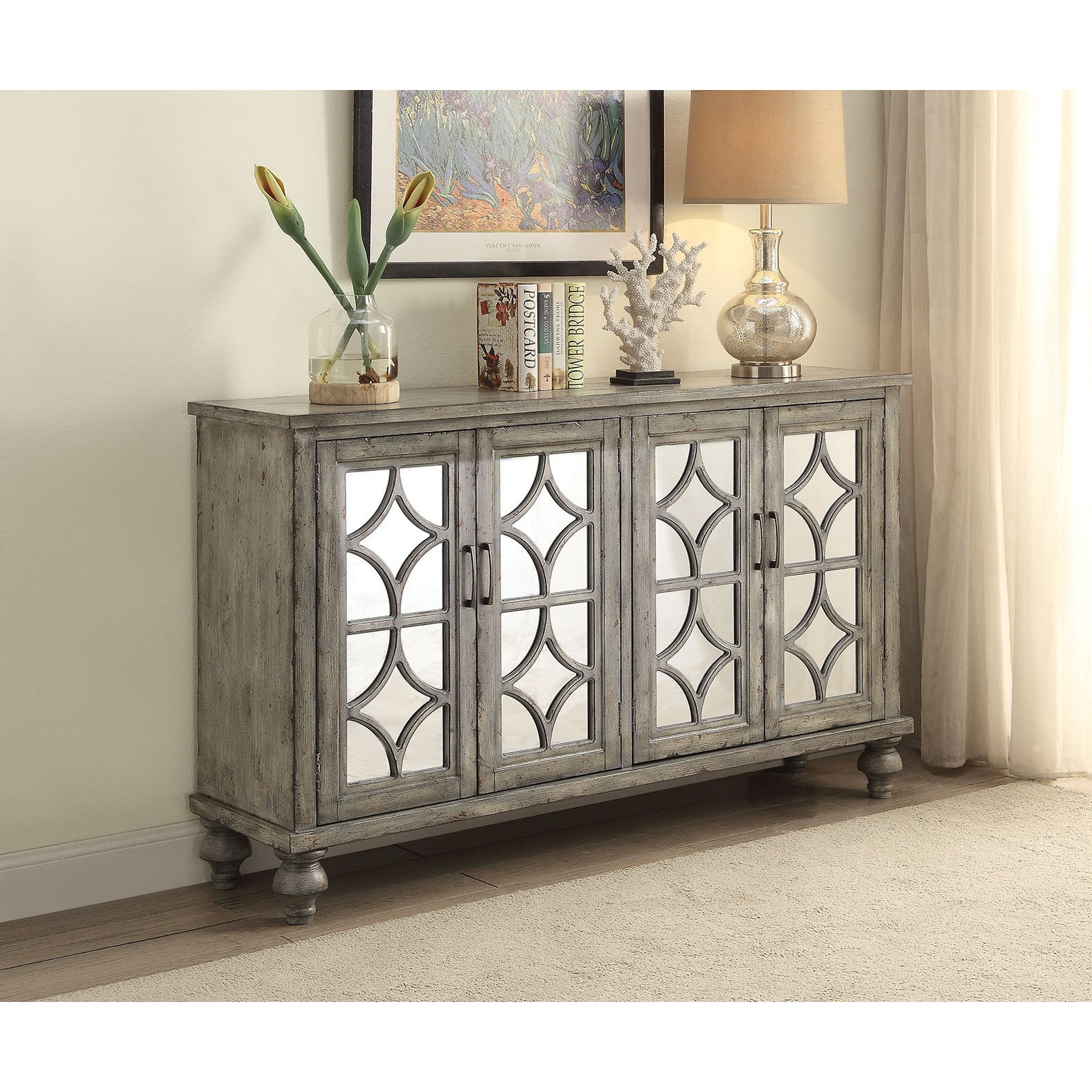 Shop Acme Furniture Velika Weathered Gray 4 Door Console Table