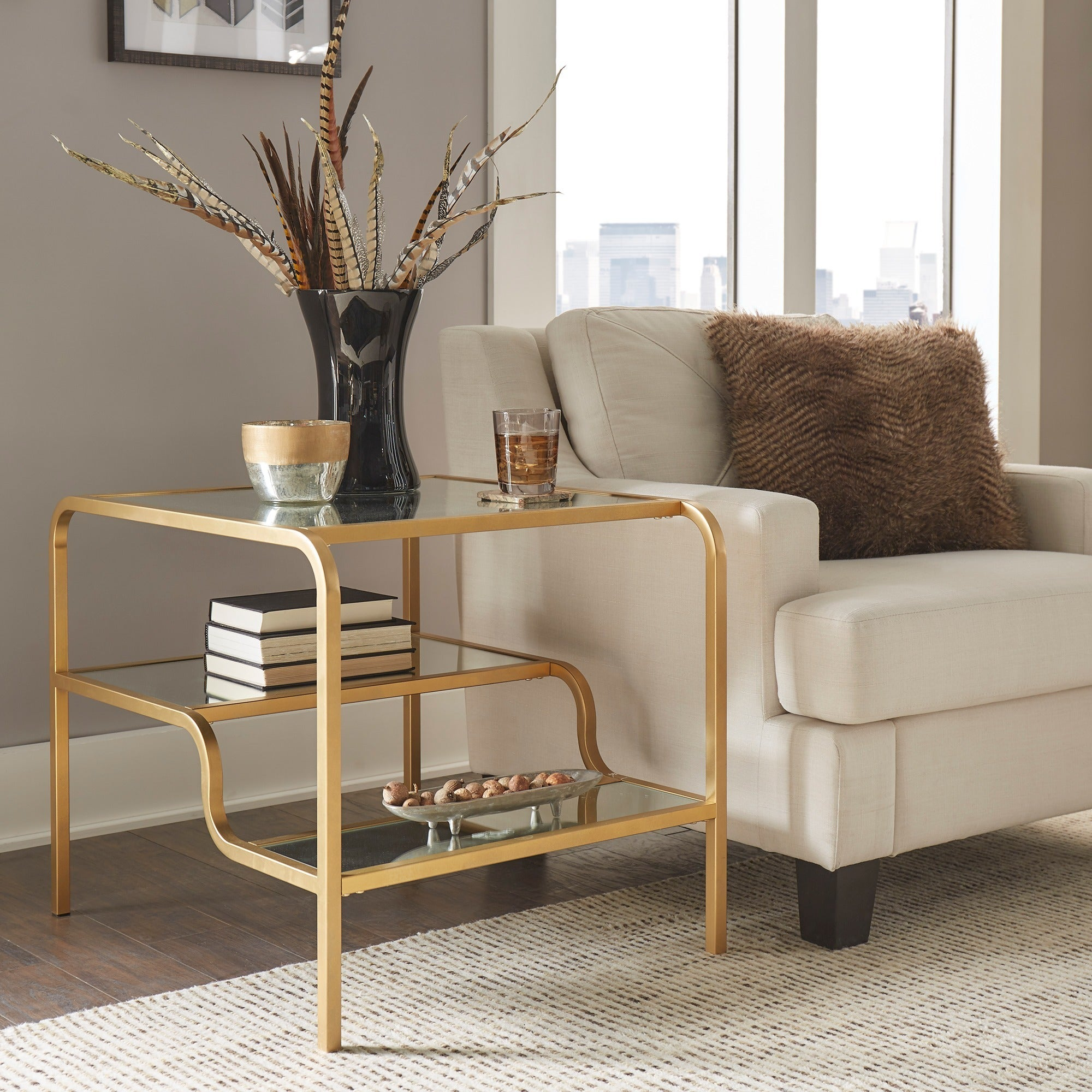Giana Champagne Gold Mirrored Shelves Side Table by iNSPIRE Q Bold - Free  Shipping Today - Overstock.com - 21887299