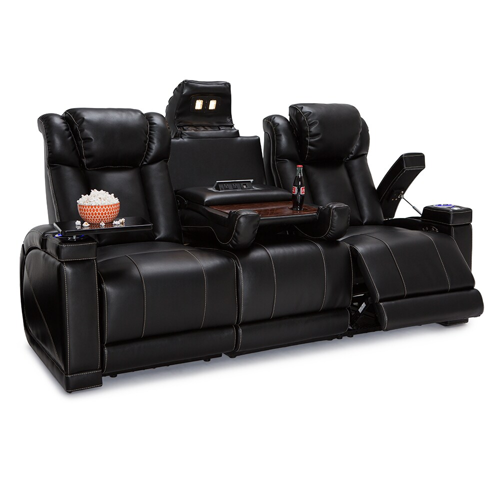 Seatcraft Sigma Leather Gel Home Theater Seating Recline Sofa With Fold Down Table And Cup Holders Black