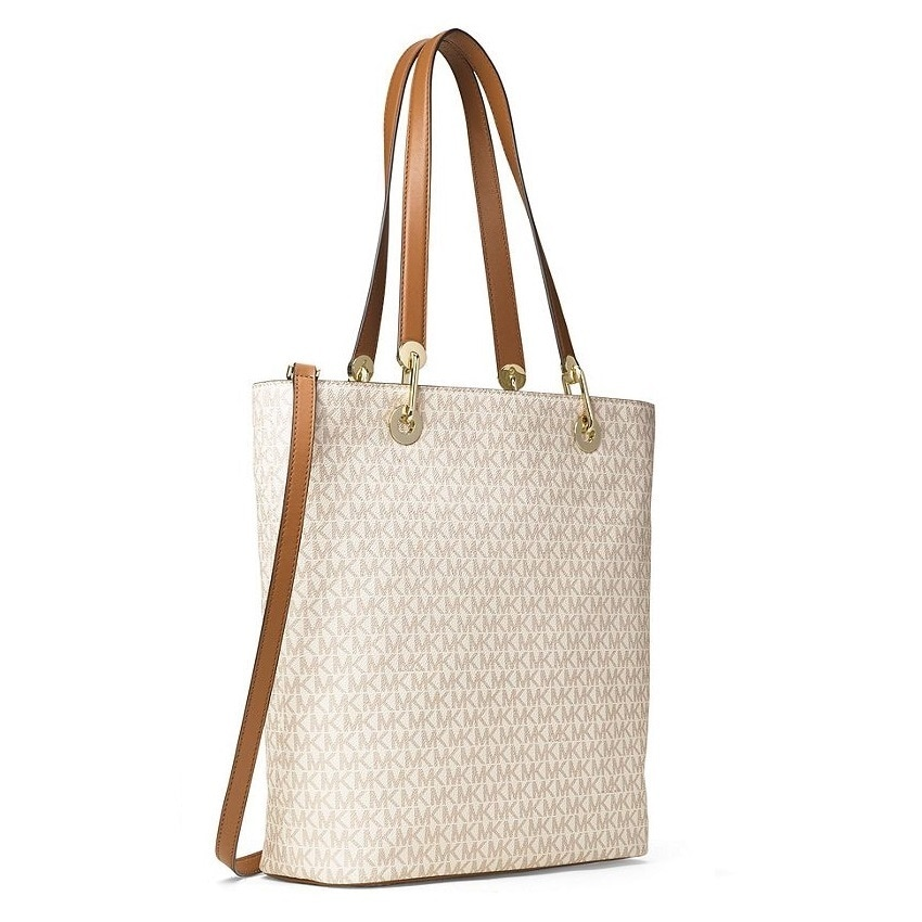 9d44fade3f Shop Michael Kors Raven Signature Vanilla Large Shoulder Tote Bag - On Sale  - Free Shipping Today - Overstock - 15436987