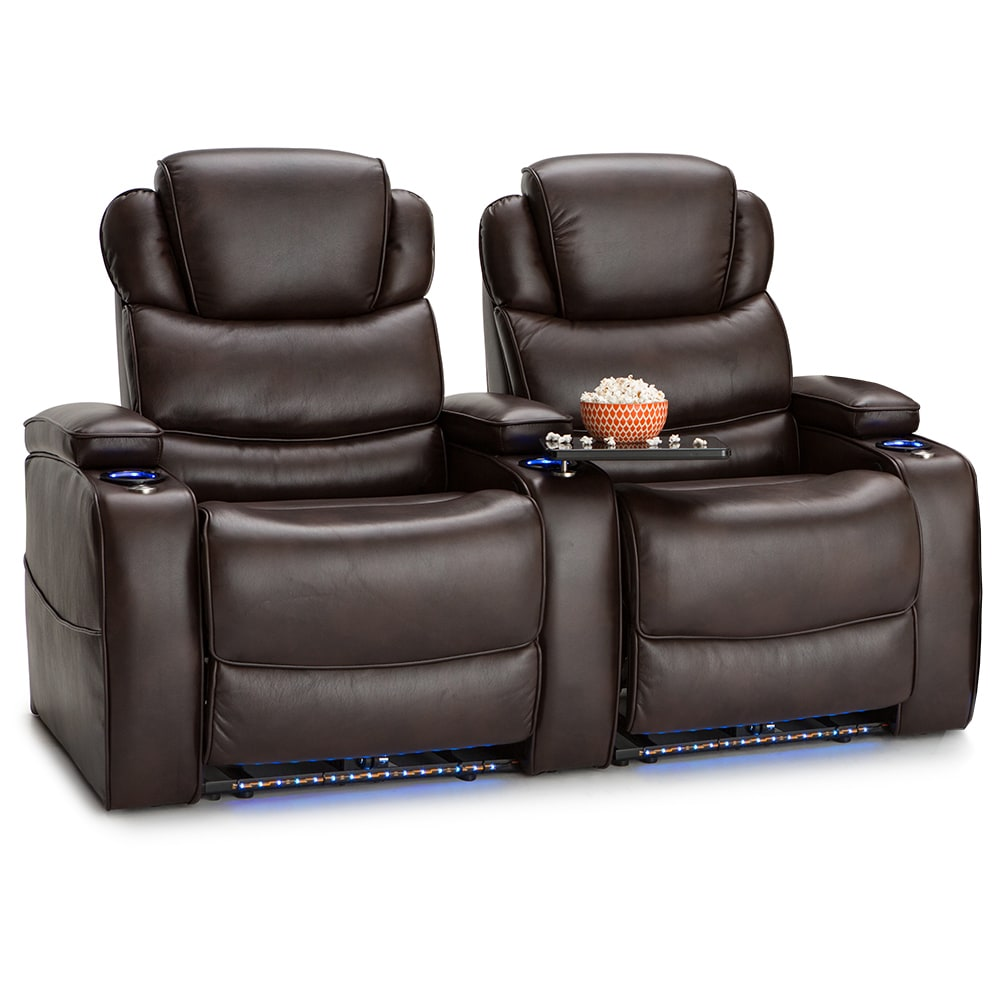Barcalounger Columbia Leather Gel Home Theater Seating Recline Row Of 2 Brown
