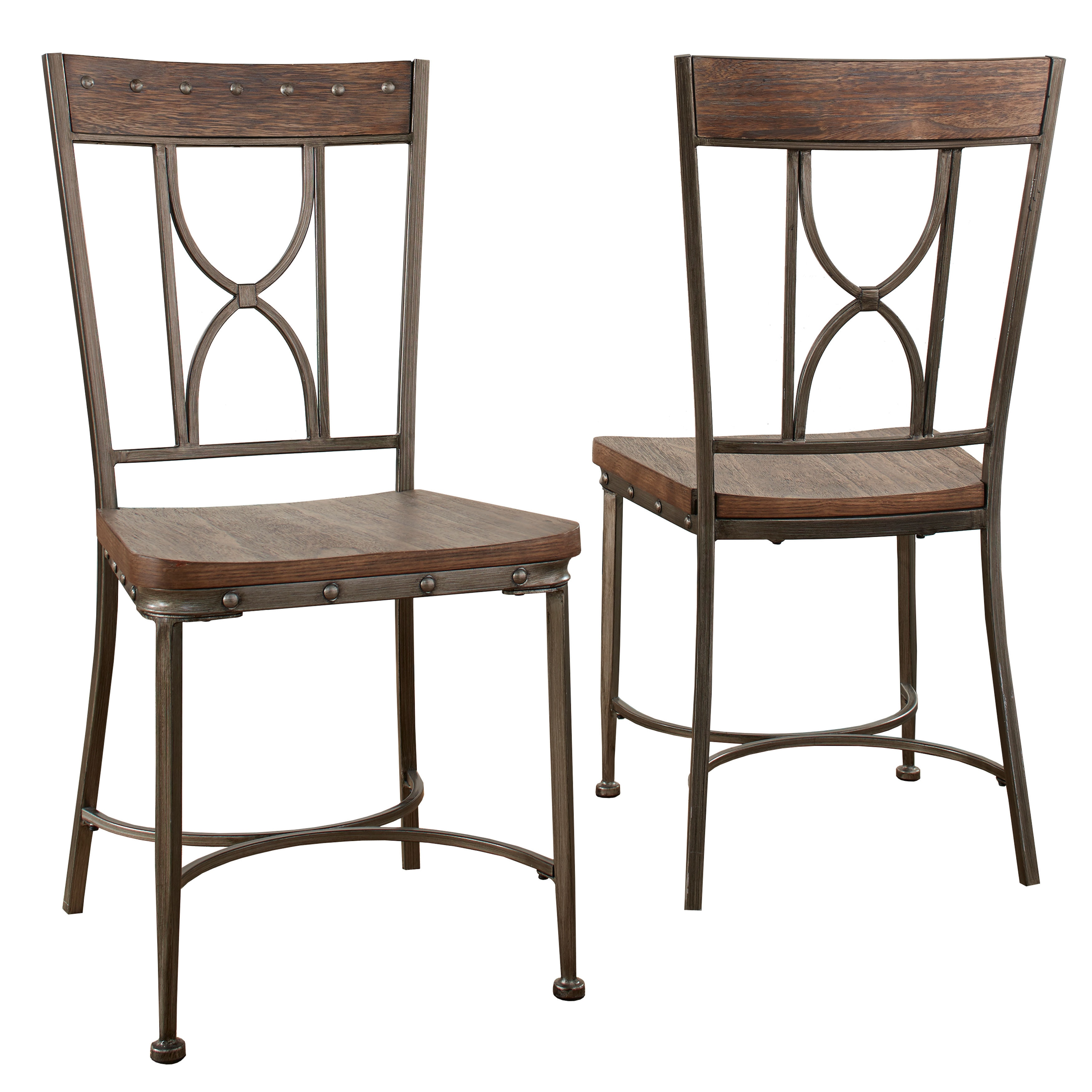Hilale Furniture Paddock Grey Metal And Wood Dining Chair Set Of 2 On Free Shipping Today 15437586