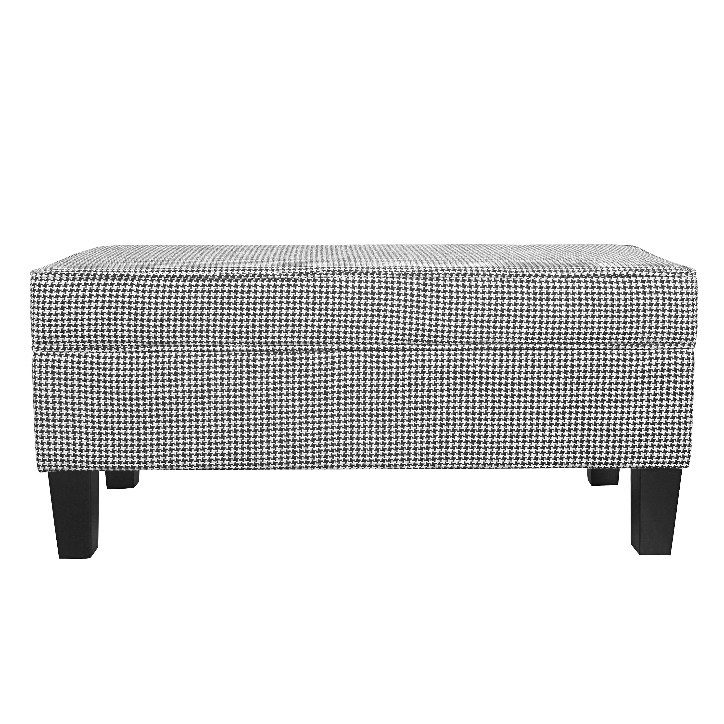 Shop HomePop Large Storage Bench with Piping - Ebony Houndstooth ...