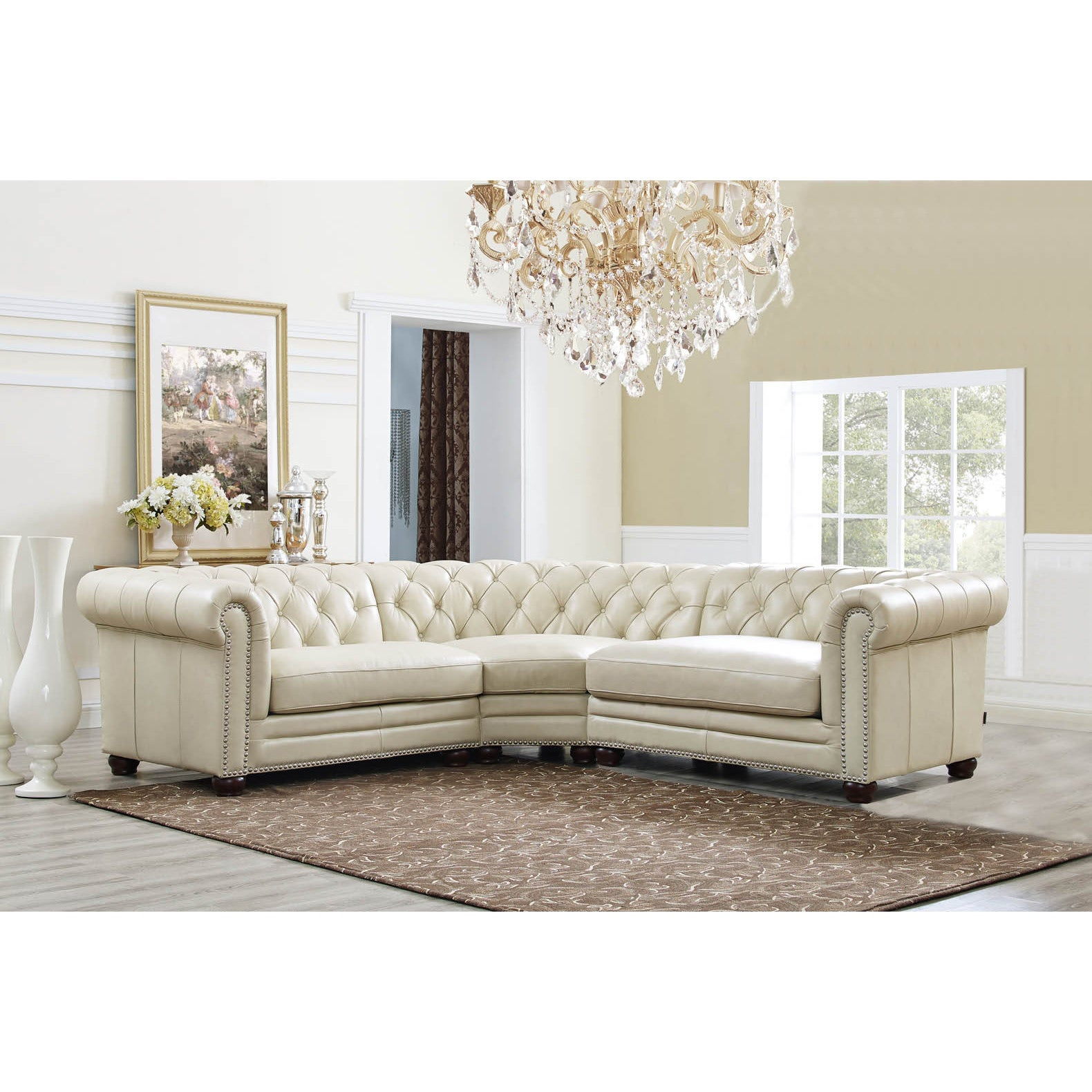 Hydeline By Amax Nicholson Top Grain Leather Button Tufted  ~ Nailhead Trim Sectional Sofa