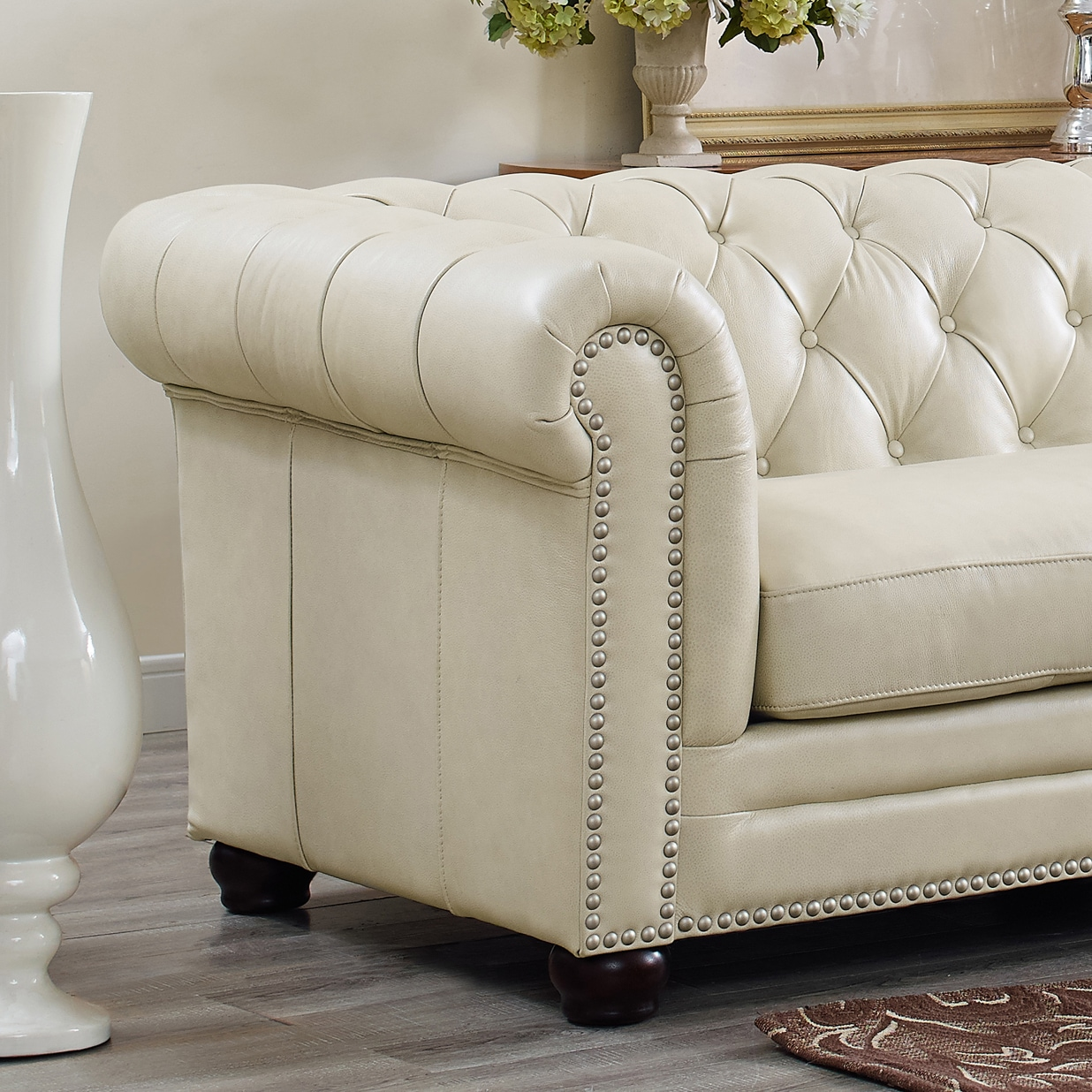 Shop Hydeline By Amax Nicholson Top Grain Leather Button Tufted Nailhead  Trim Sectional Sofa, 3 Pieces   Free Shipping Today   Overstock.com    15438257