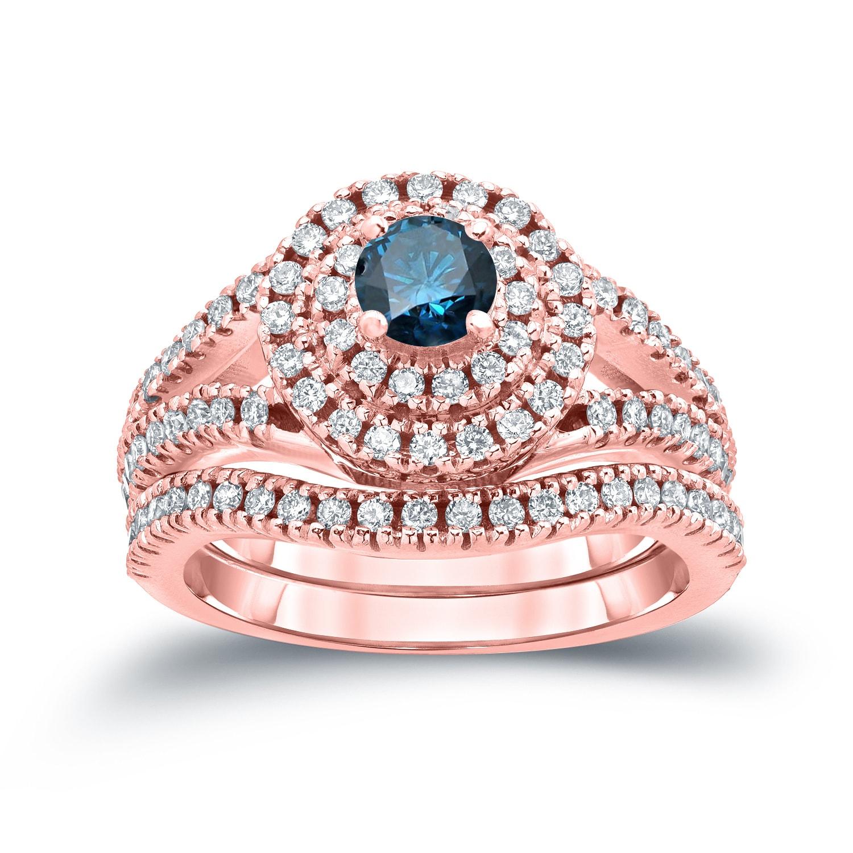 Auriya 14k 1 1/5ct TDW Round Blue Diamond Halo Engagement Ring Set ...