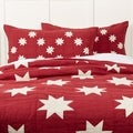Red Farmhouse Bedding VHC Kent Sham Cotton Star Chambray