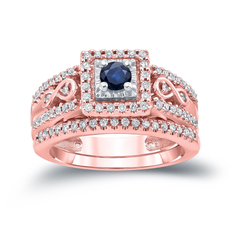 Auriya 14k Gold 1/4ct Sapphire and 2/5ct TDW Diamond Engagement Ring ...