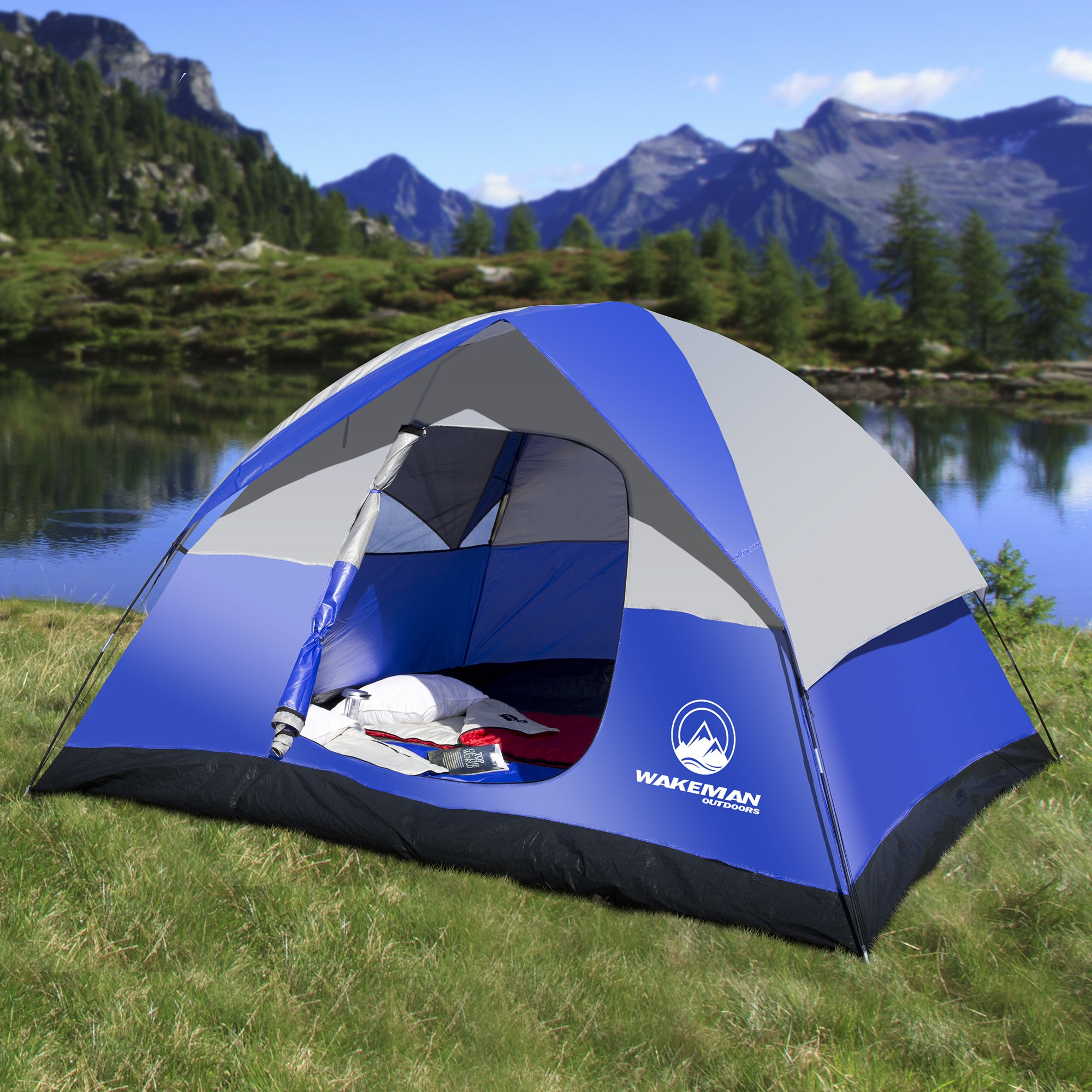 6 Person Tent Water Resistant Dome For Camping With Removable Rain Fly And Carry Bag Blue By Wakeman Outdoors