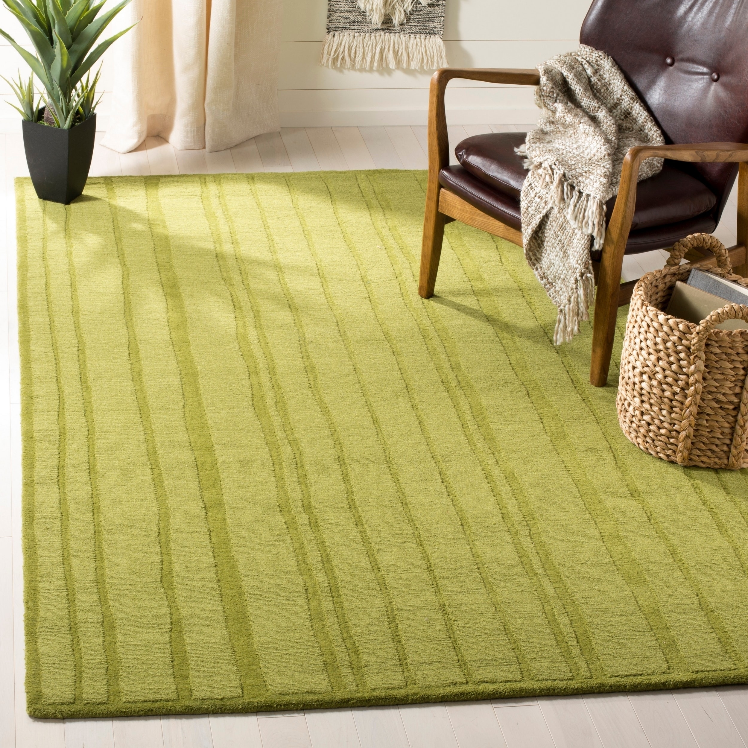 Shop Martha Stewart by Safavieh Freehand Stripe Mossy Rock / Green ...