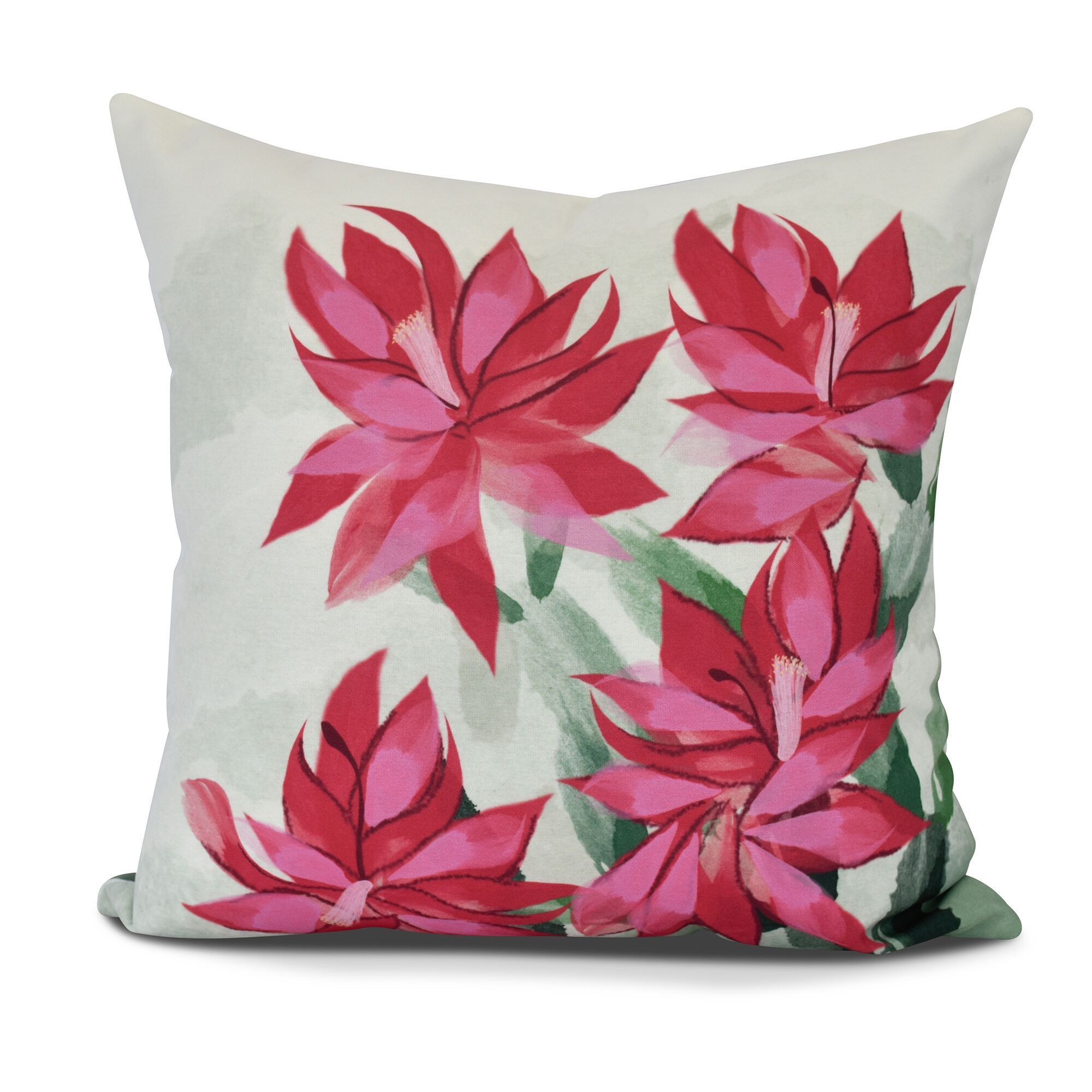 christmas cactus floral print outdoor pillow free shipping today overstock 21904834 - Christmas Outdoor Pillows