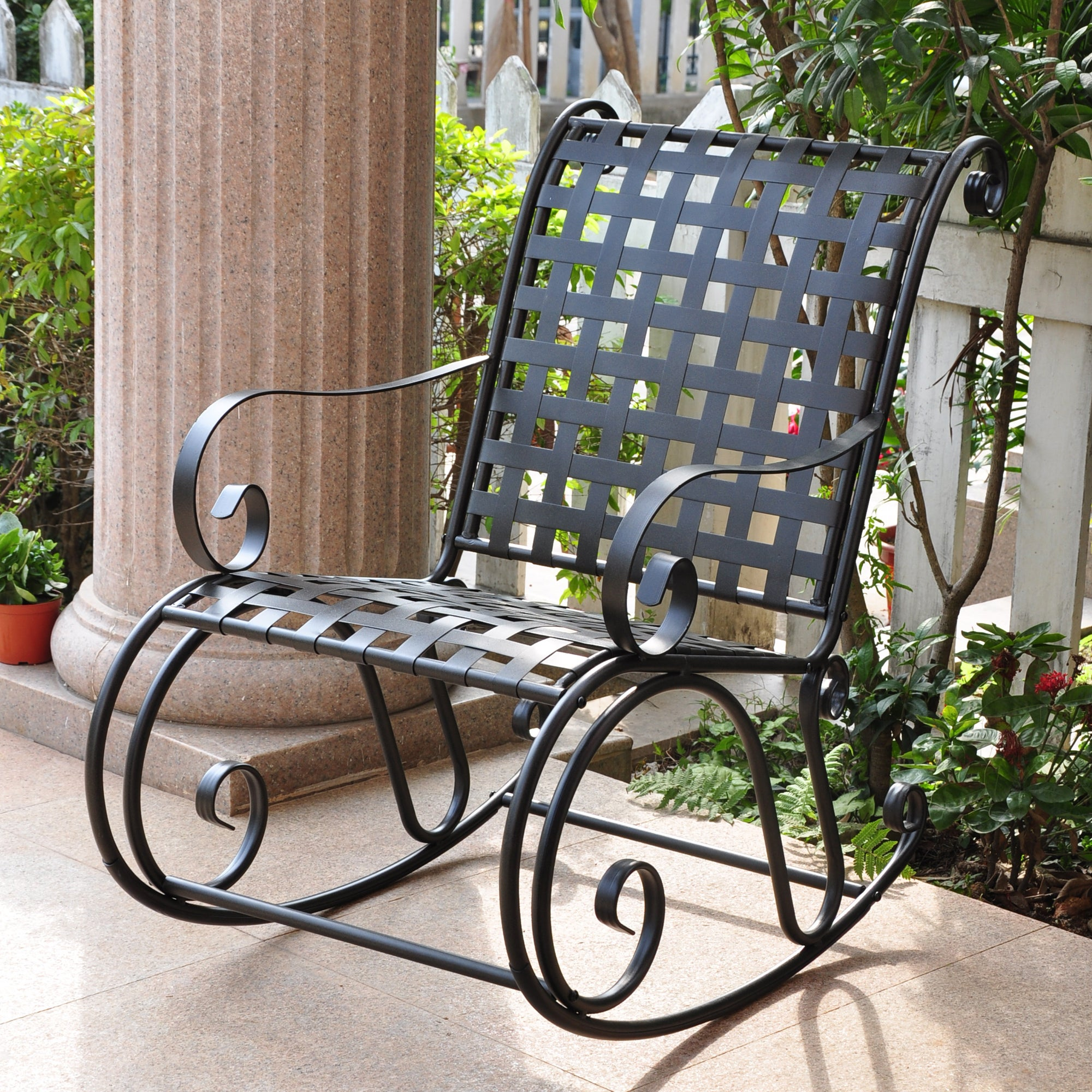 Shop International Caravan Mandalay Iron Porch Rocker   On Sale   Free  Shipping Today   Overstock.com   1559566